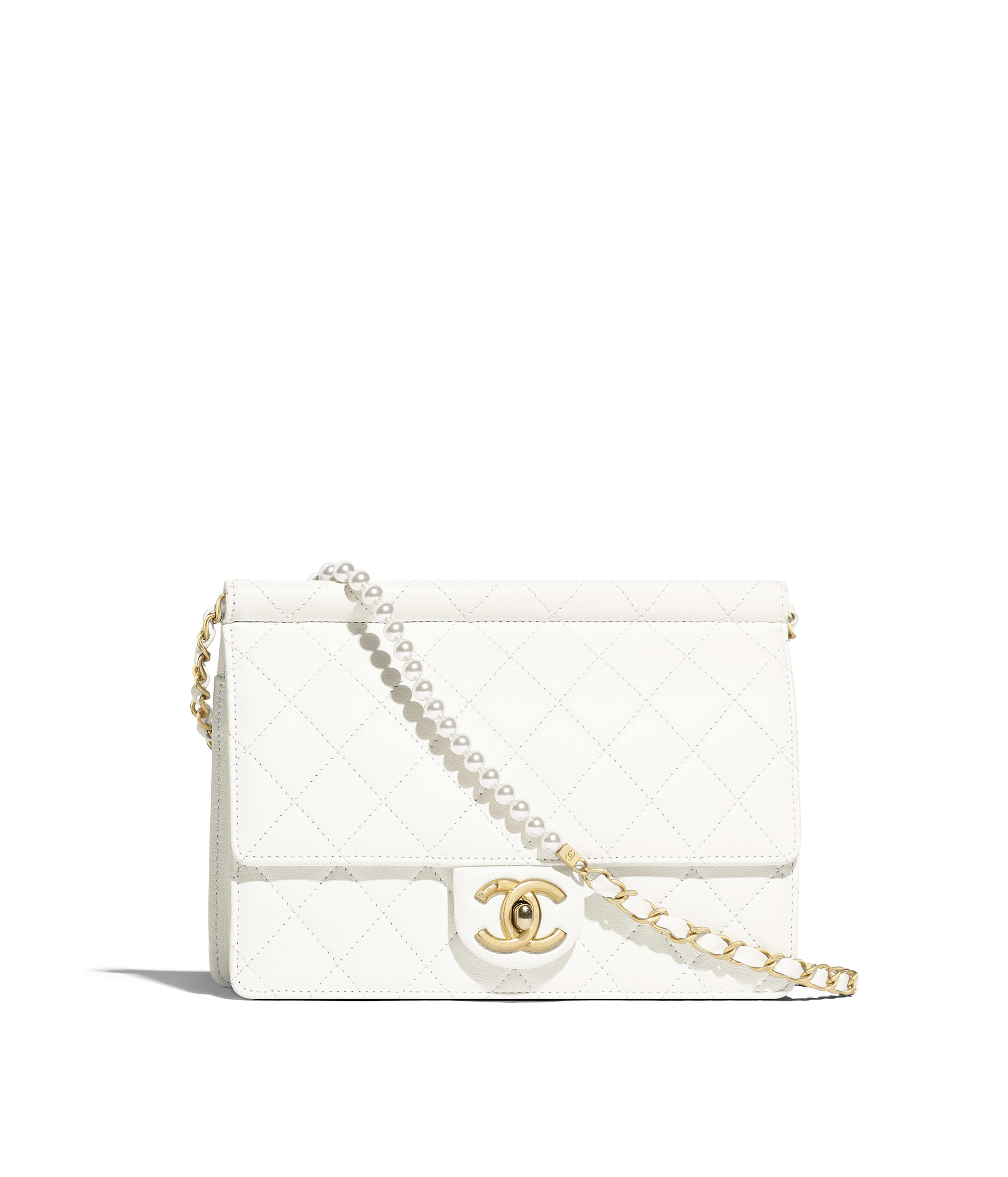 7d9c4cbfef5a Flap Bag Lambskin, Imitation Pearls & Gold-Tone Metal, White Ref.  AS0582B0037110601