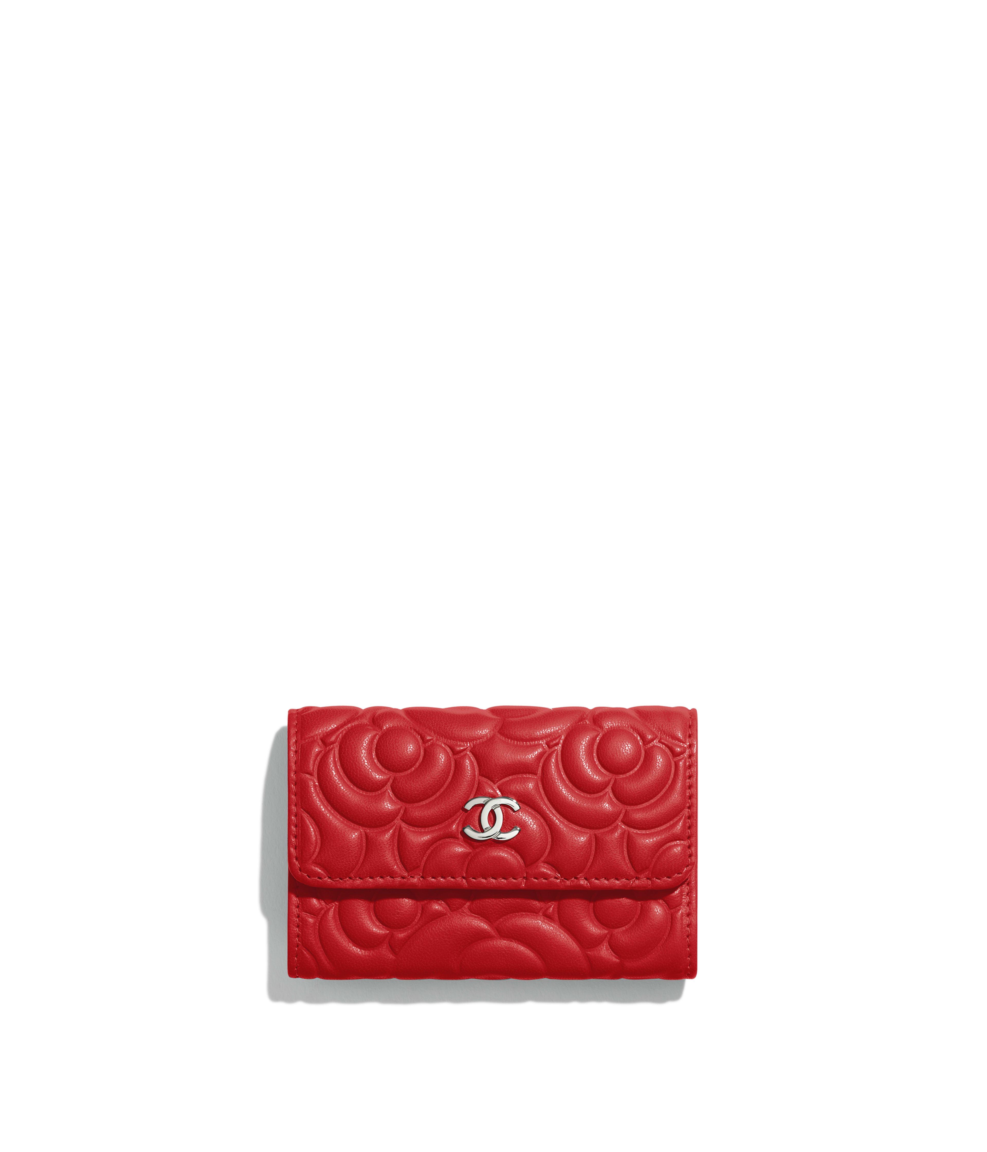 0d6d5f2223f6 Flap Card Holder Lambskin & Silver-Tone Metal, Red Ref. A81937B00077N0413