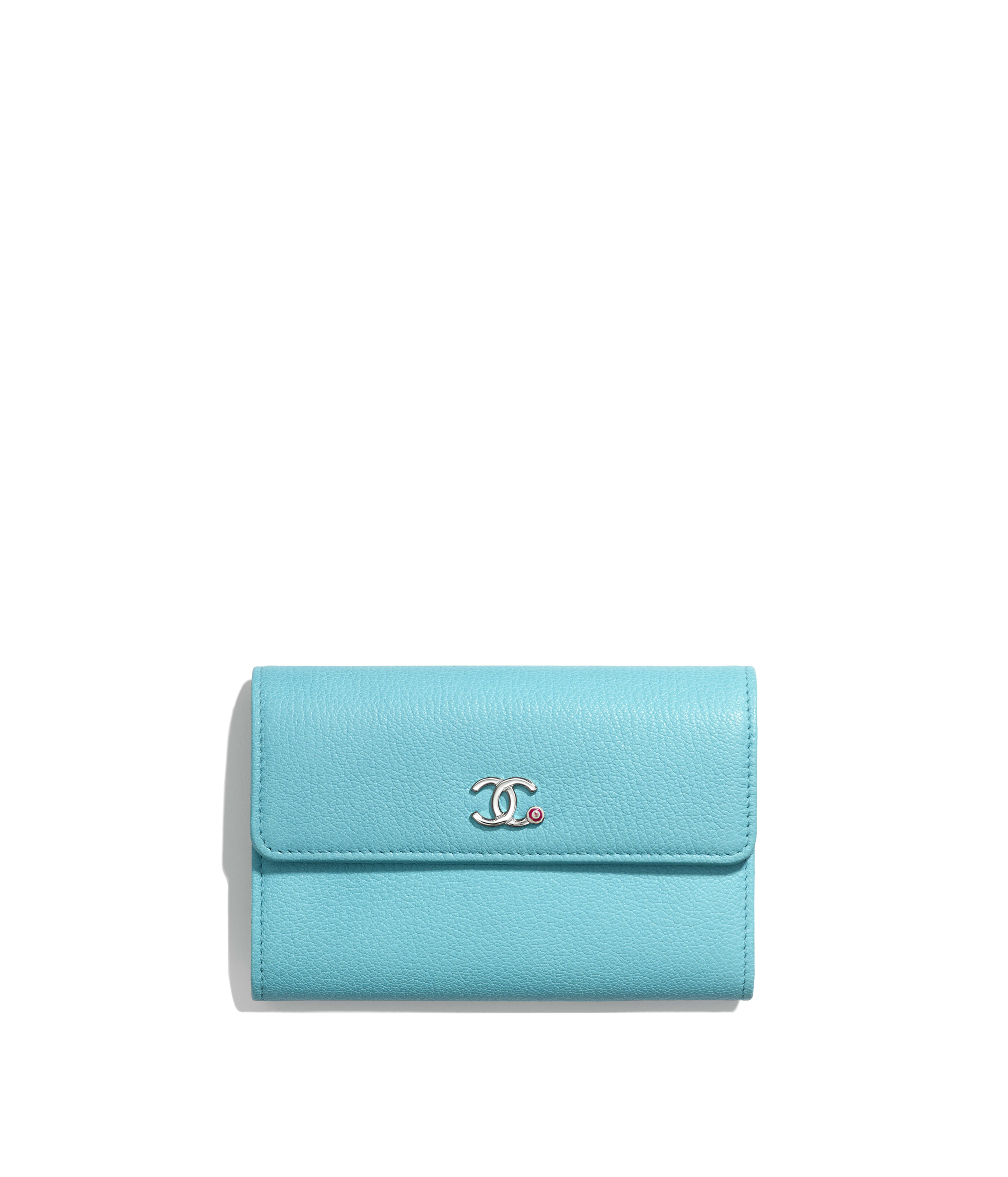 498a3fe486f2 Flap Wallet Goatskin & Silver-Tone Metal, Turquoise Ref. AP0265B00322N4513