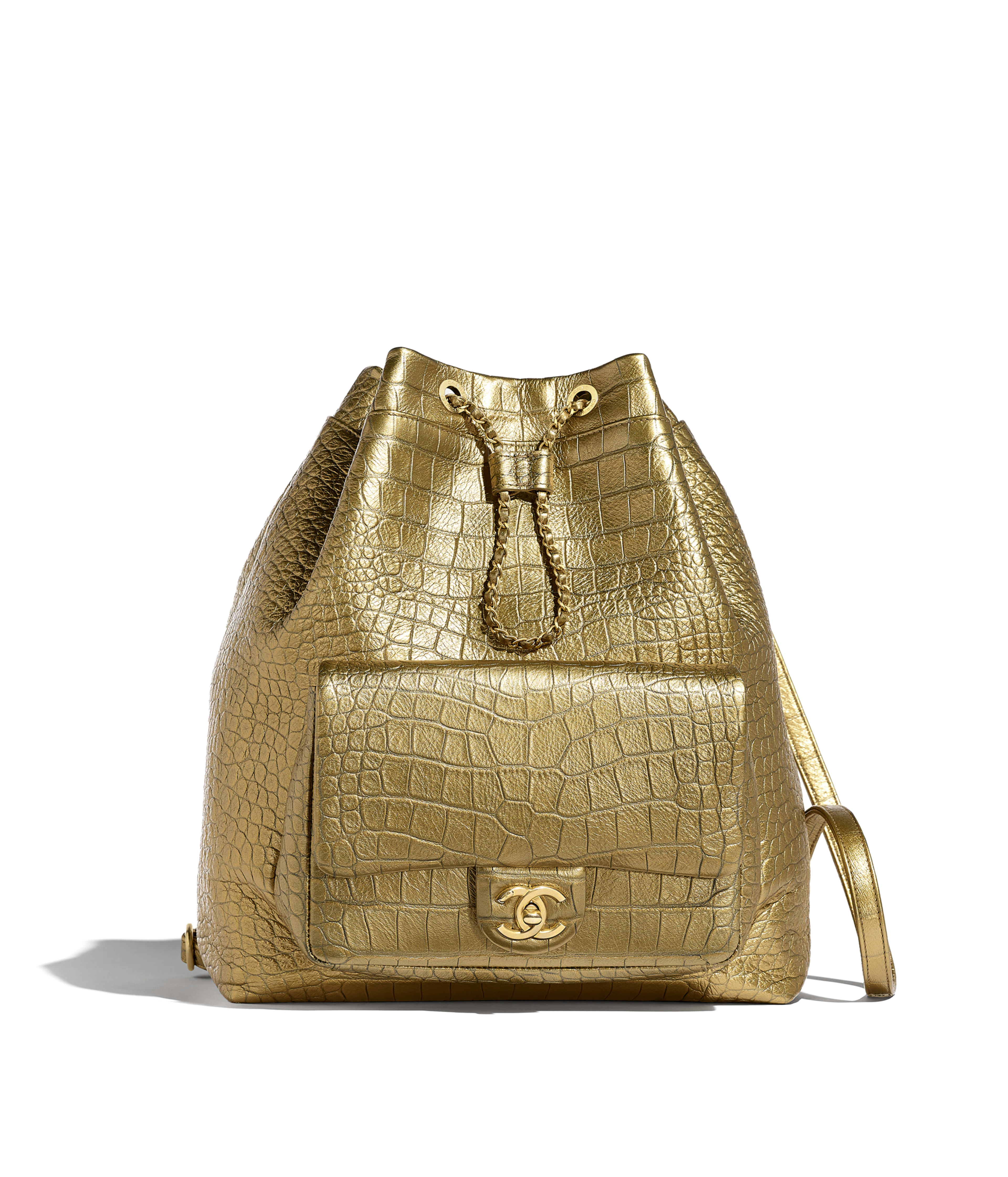 50c02e002918e7 Large Backpack Metallic Crocodile Embossed Calfskin & Gold Metal, Gold Ref.  AS0800B00773N4775