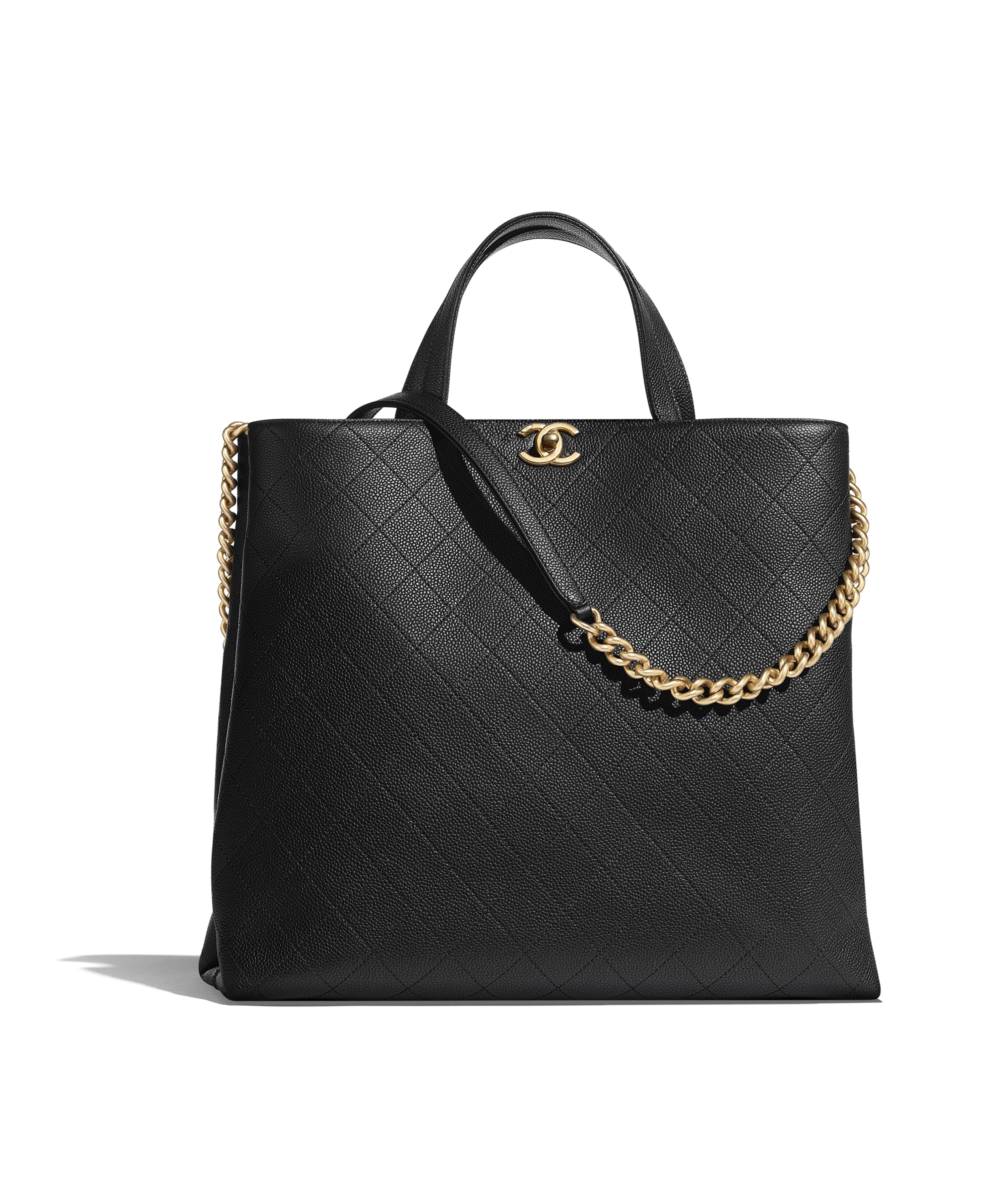 90d9eb41d4 Large Shopping Bag Grained Calfskin & Gold-Tone Metal, Black Ref.  AS0312B0017094305