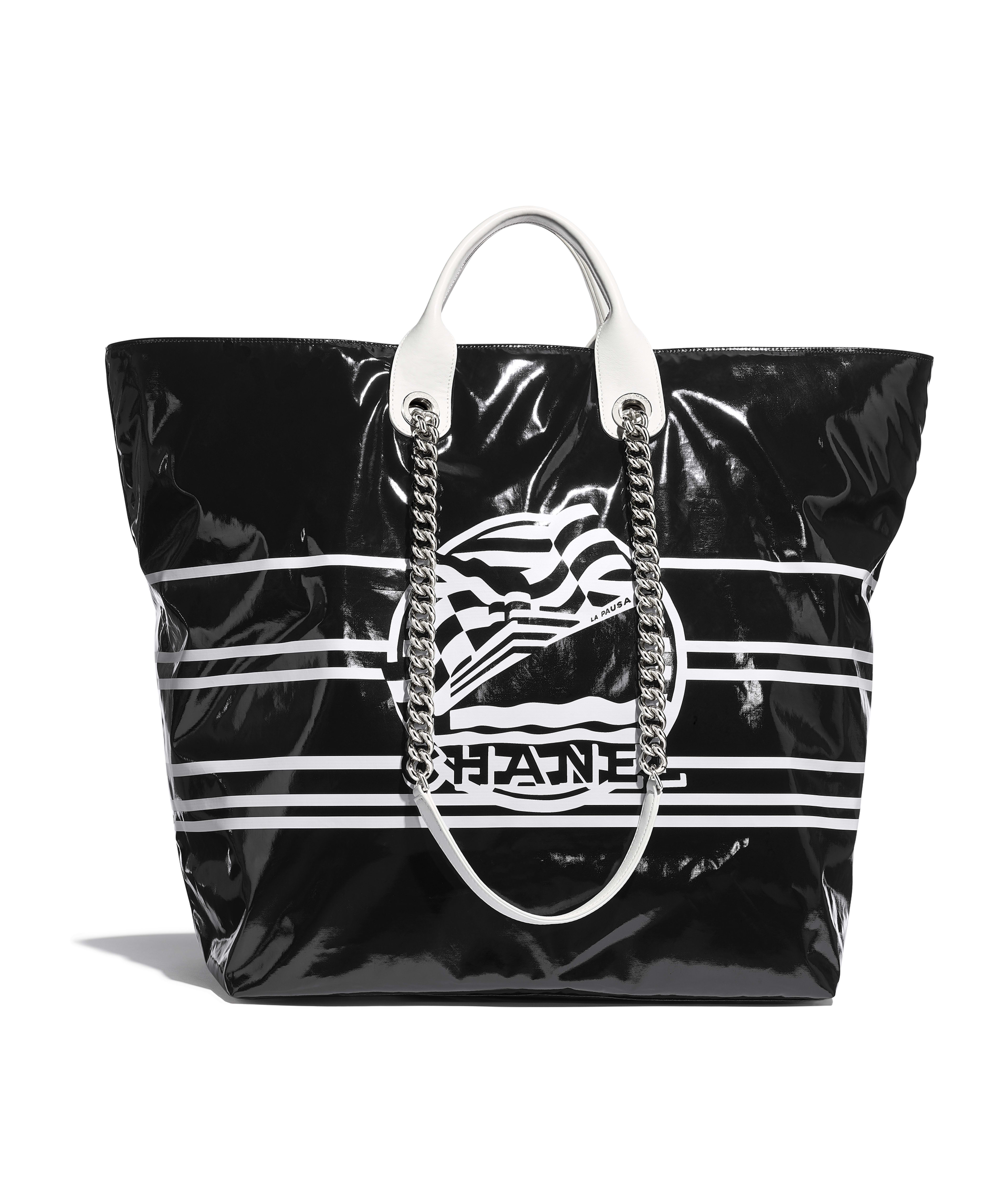 0855315b22361f Large Shopping Bag Vinyl, Cotton, Mixed Fibers, Calfskin & Silver-Tone  Metal, Black Ref. AS0087Y8410694305