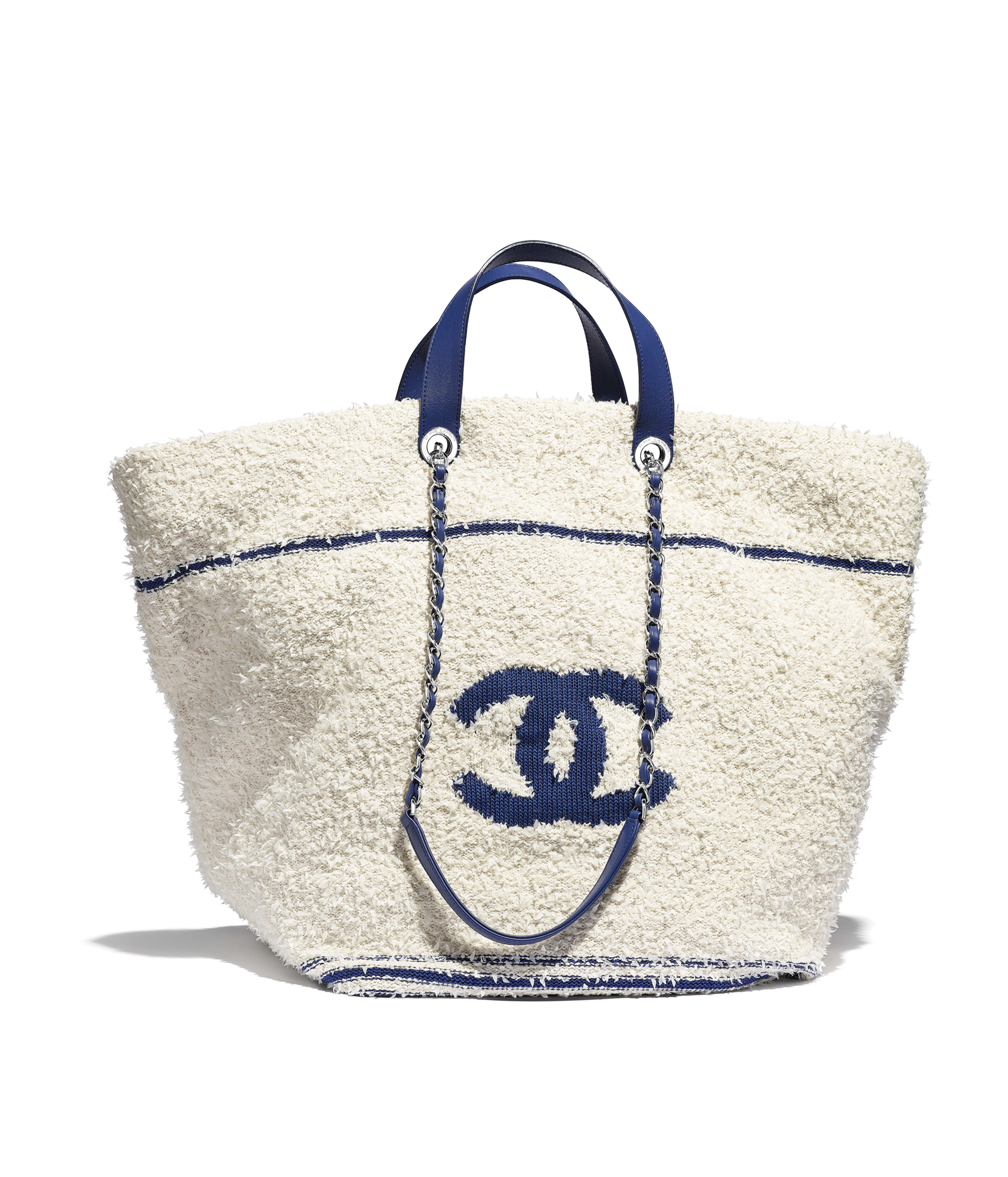 647fac05109f Large Shopping Bag Cotton, Lambskin & Silver-Tone Metal, White & Blue Ref.  AS0452B00251N0360