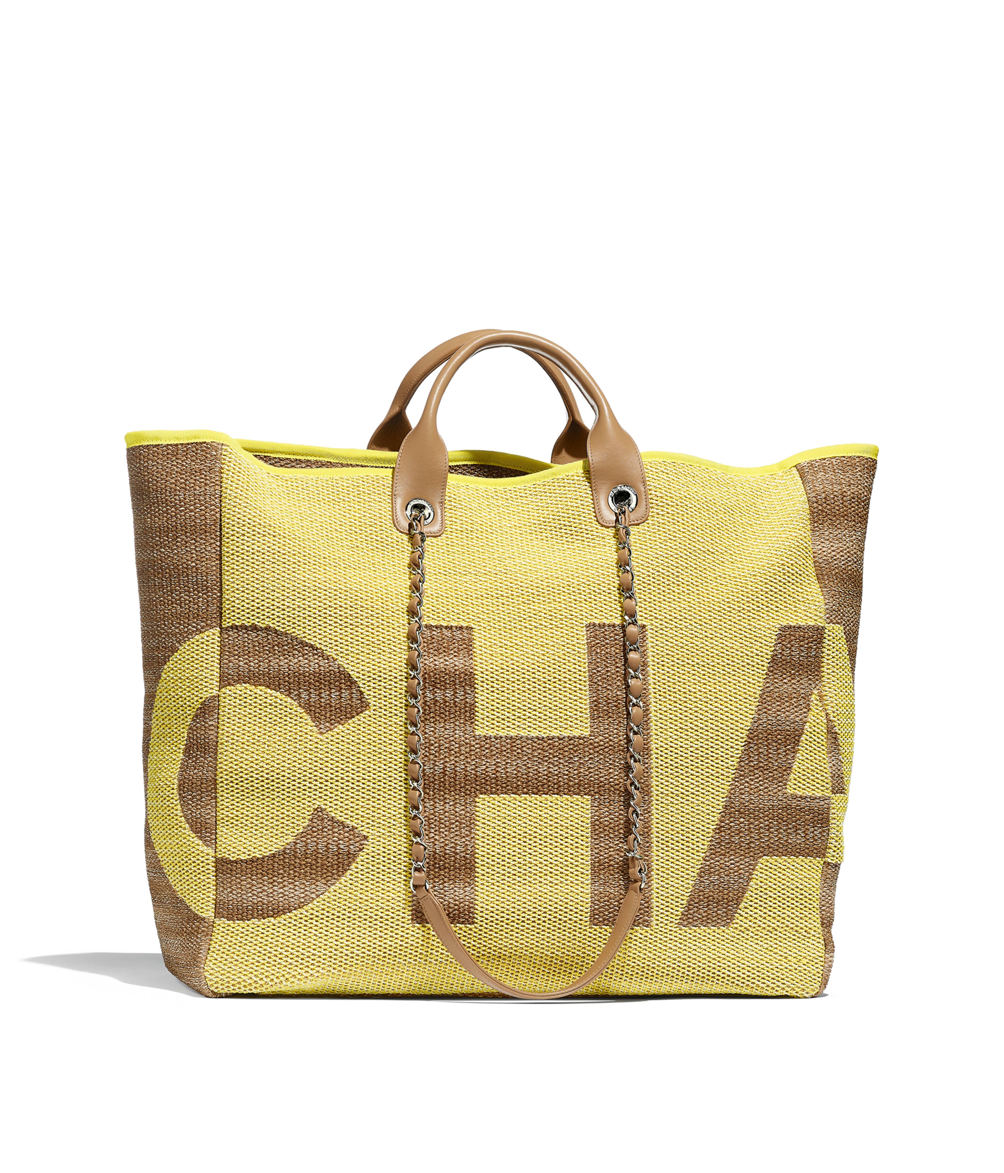 b403478b3f40 Large Shopping Bag Mixed Fibers, Viscose, Calfskin & Silver-Tone Metal,  Yellow & Dark Beige Ref. A57162B00380N4525