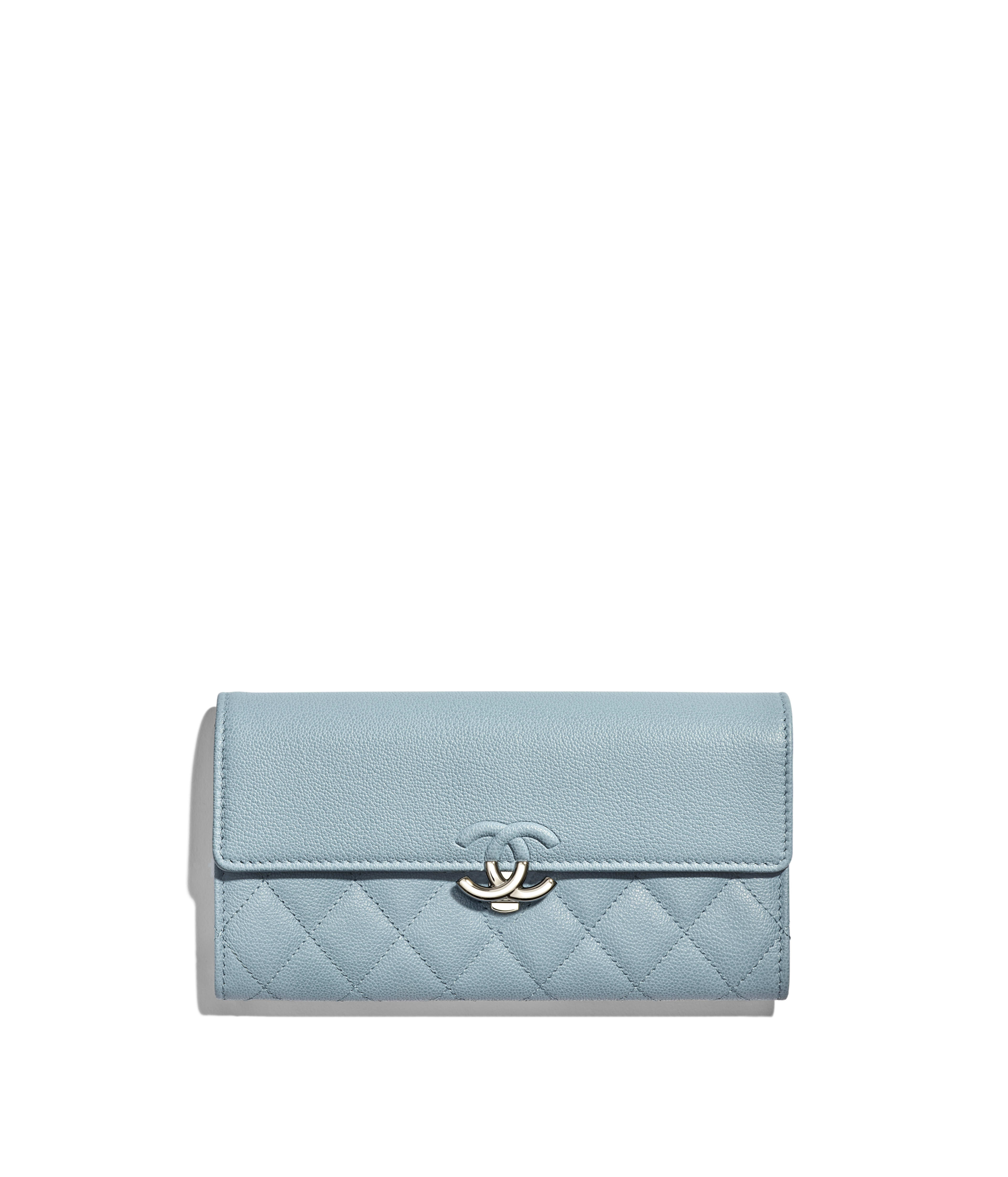 02c1c31b0cdb Long Flap Wallet Grained Calfskin & Silver-Tone Metal, Blue Ref.  A84426B00035N0418