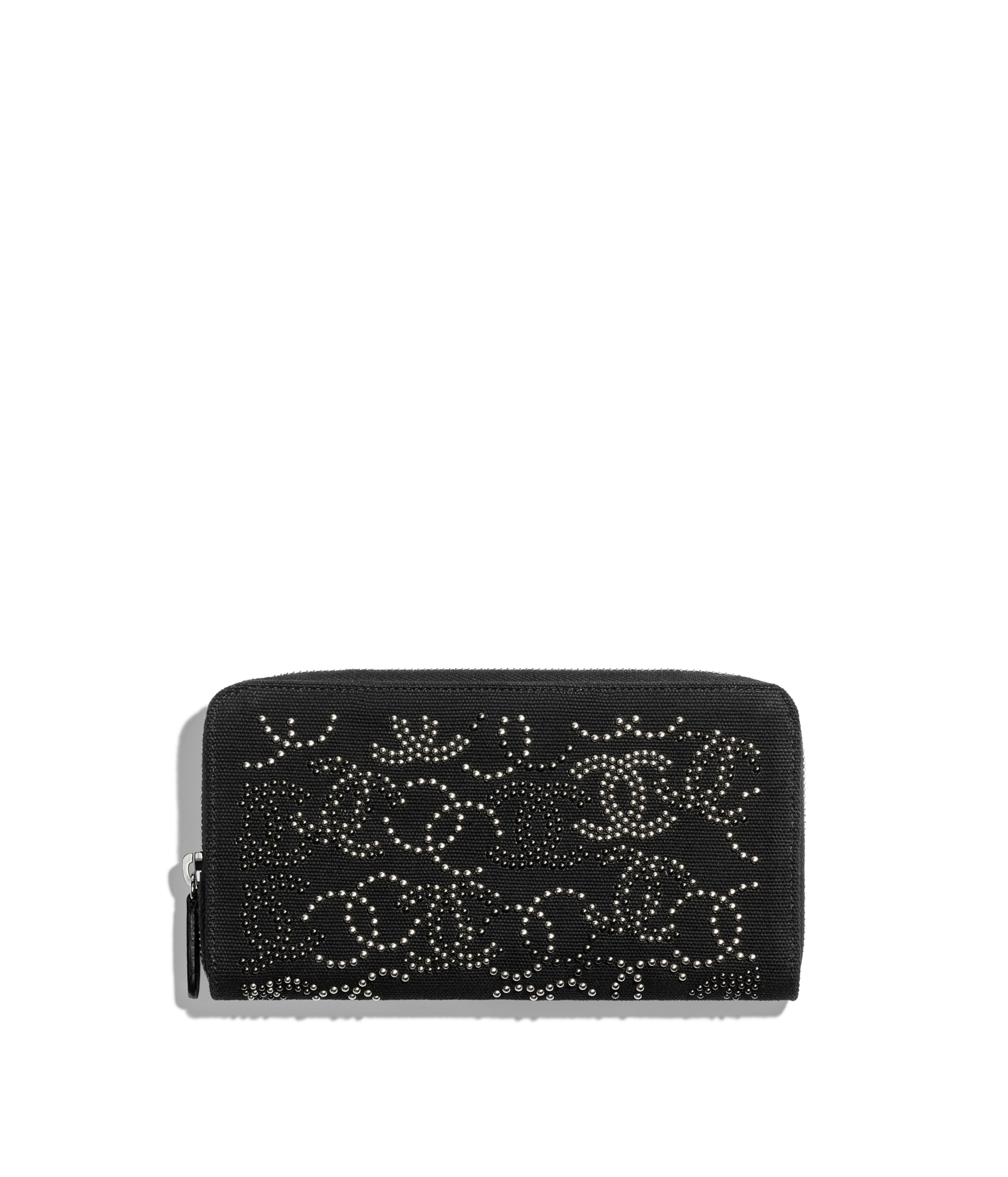 53b8af4ac874 Long Zipped Wallet Cotton, Studs & Ruthenium-Finish Metal, Black Ref.  AP0133B0015094305