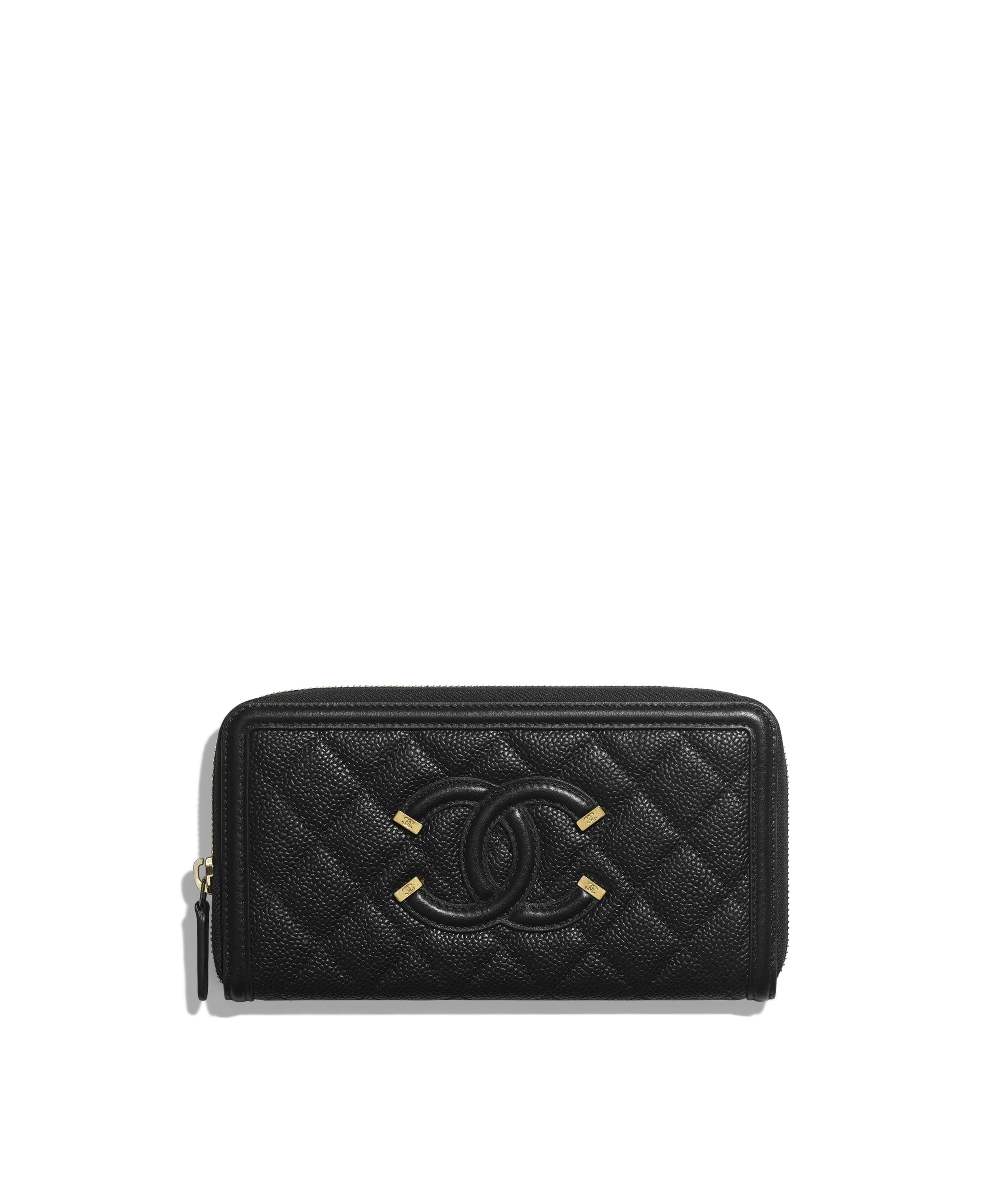 75f0997b4b44 Long Zipped Wallet Grained Calfskin, Smooth Calfskin & Gold-Tone Metal,  Black Ref. A84449Y6054294305