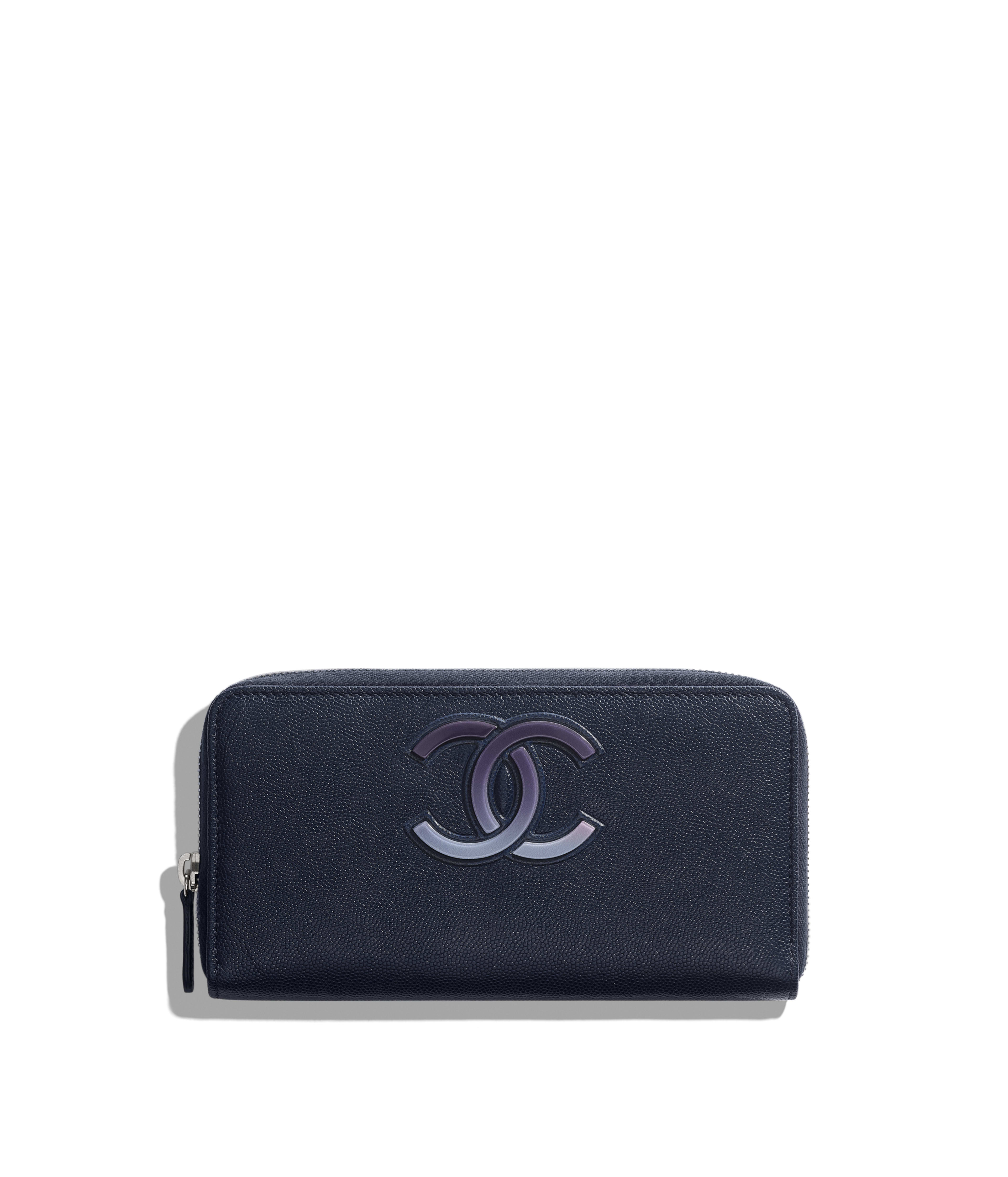 9e6753082a65 Long Zipped Wallet Grained Goatskin & Silver-Tone Metal, Navy Blue & Blue  Ref. AP0138B00070N0459
