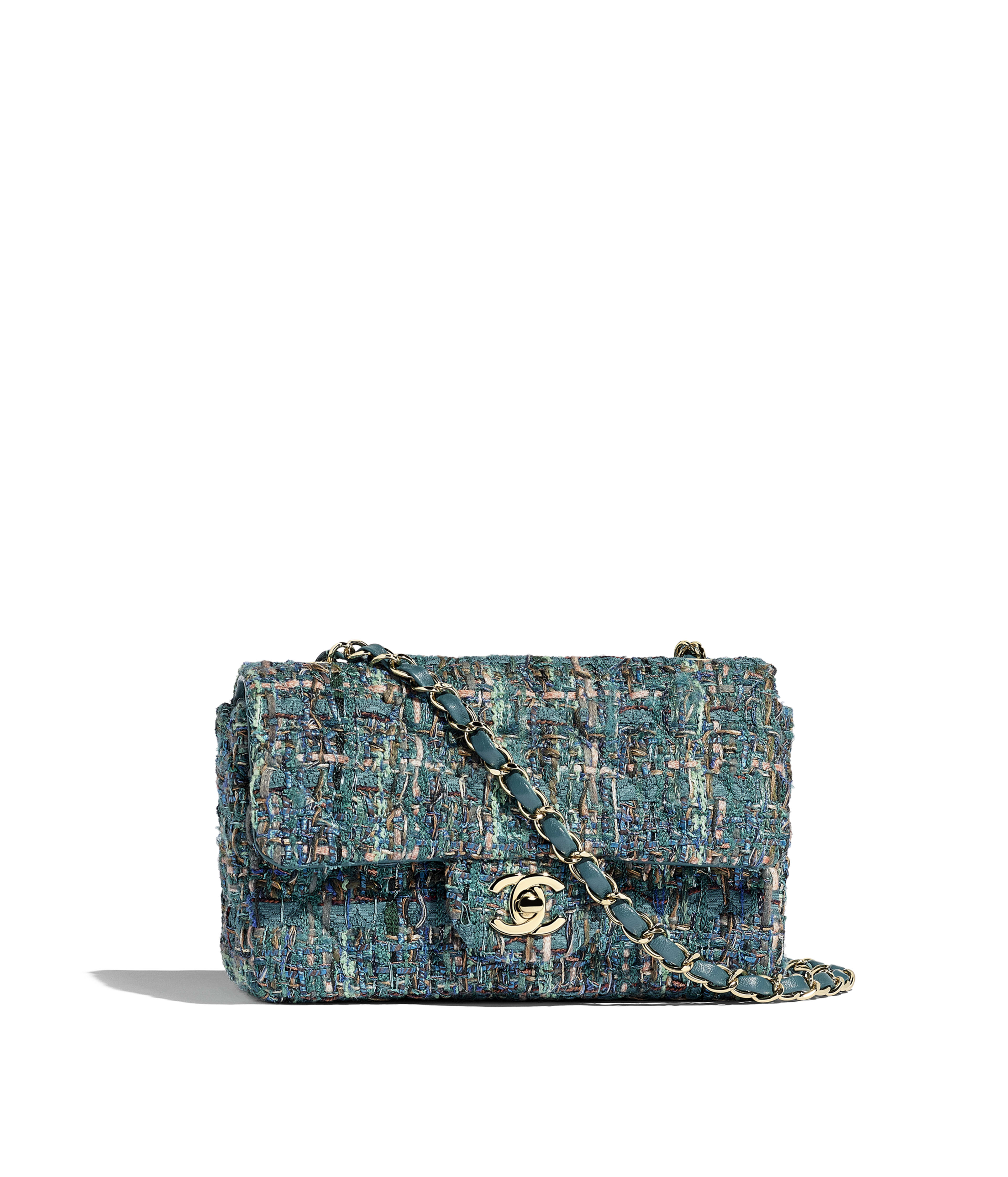 b8b7619b1f3e94 Mini Flap Bag Tweed & Gold-Tone Metal, Turquoise Ref. A69900B00969MG483