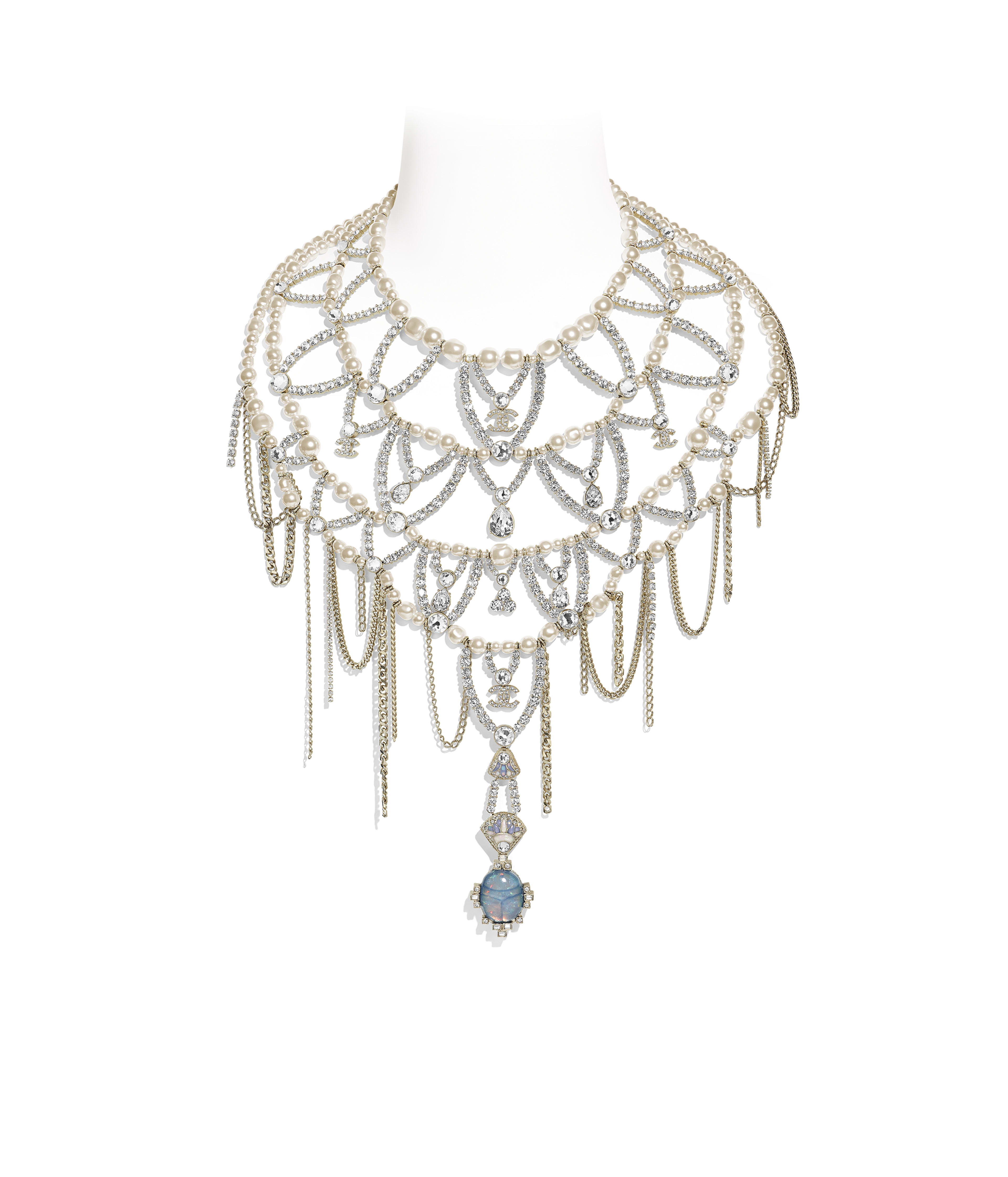 edf1f423 Necklace Metal, Glass Pearls, Strass & Resin, Gold, Pearly White & Crystal  Ref. AB2061Y47768Z9204