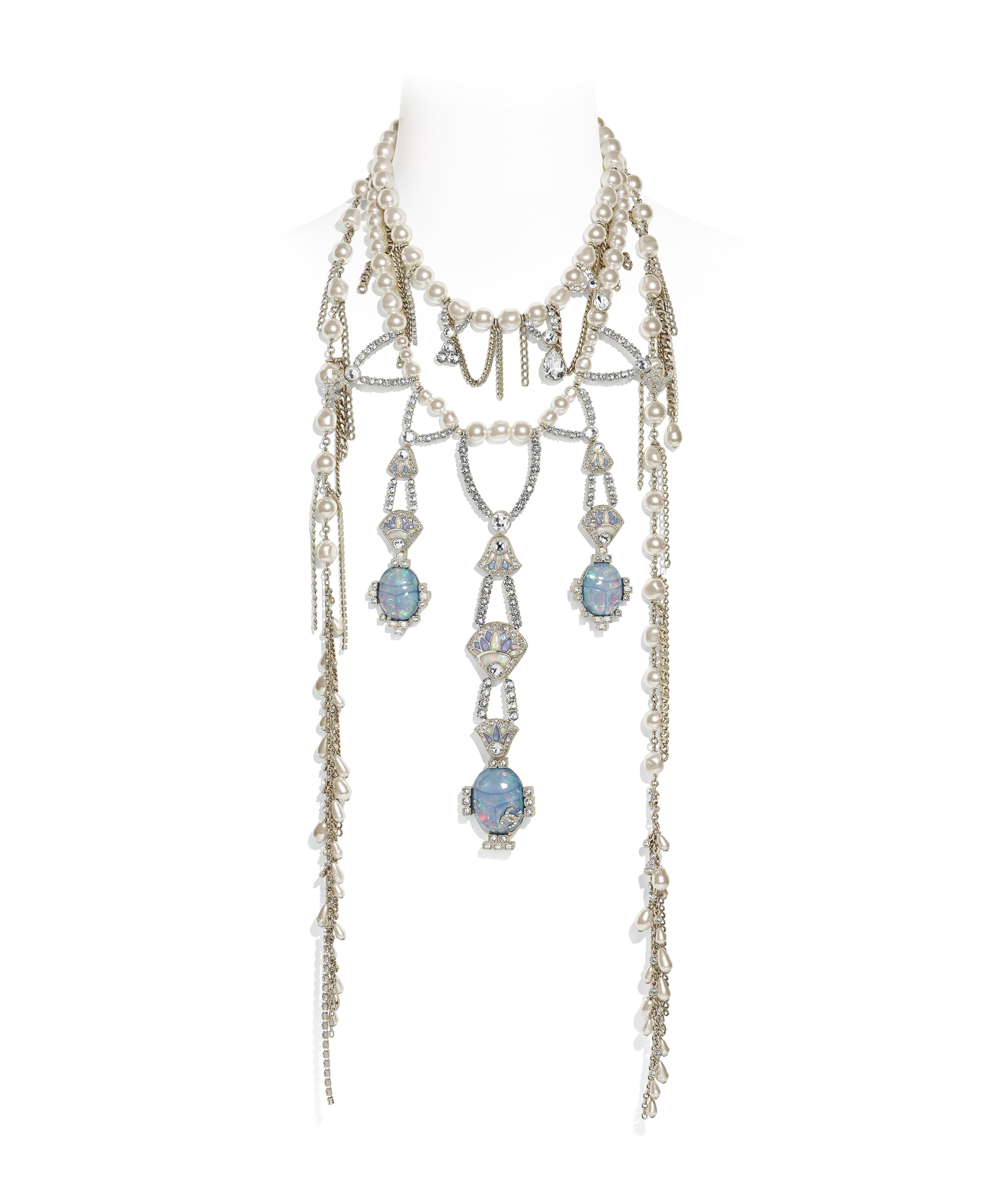 41d7009a Necklace Metal, Glass Pearls, Strass & Resin, Gold, Pearly White & Crystal  Ref. AB2066Y47768Z9204