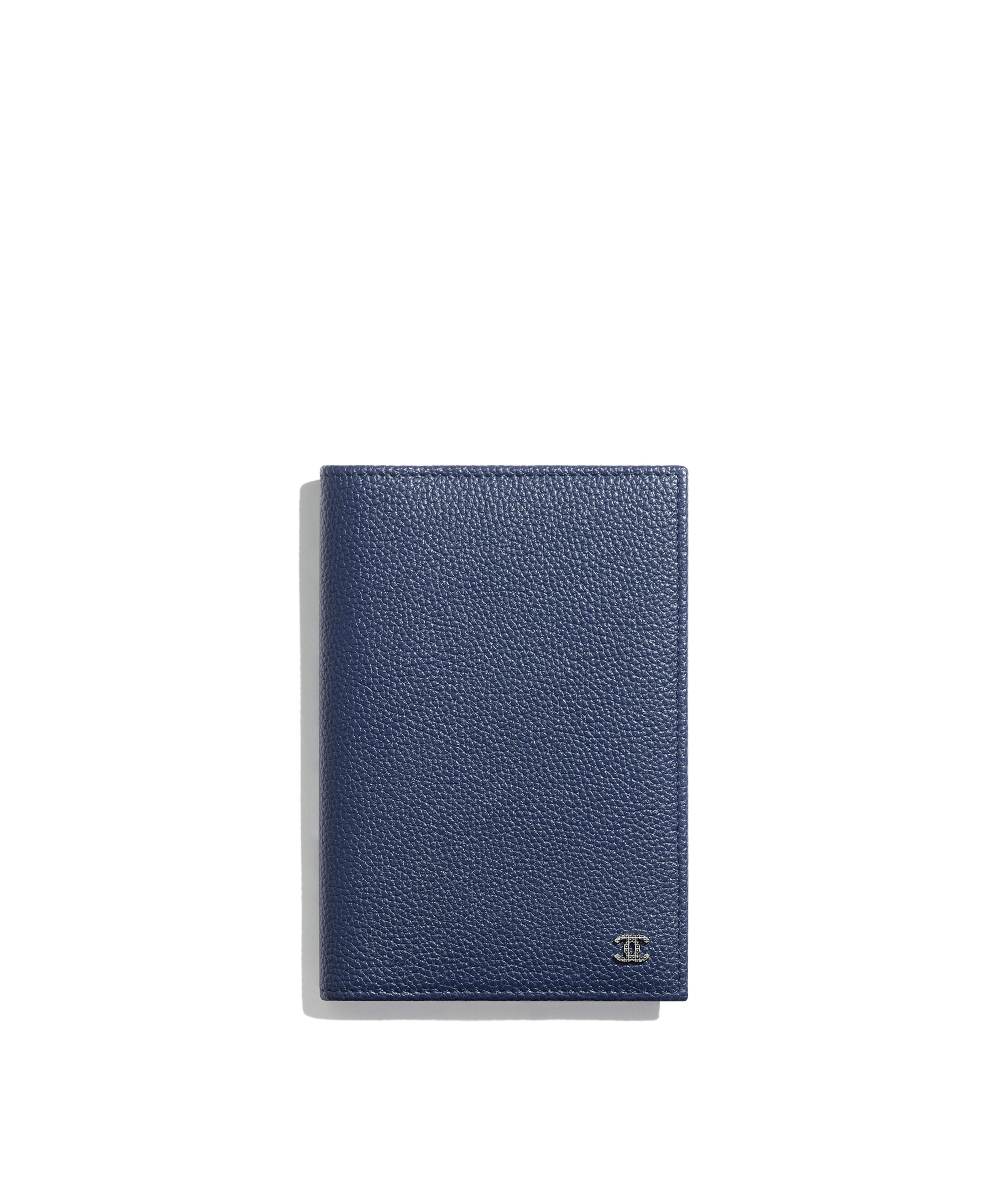 4f15889f83b9 Passport Holder Grained Calfskin & Ruthenium-Finish Metal, Navy Blue Ref.  A81933Y334205B647