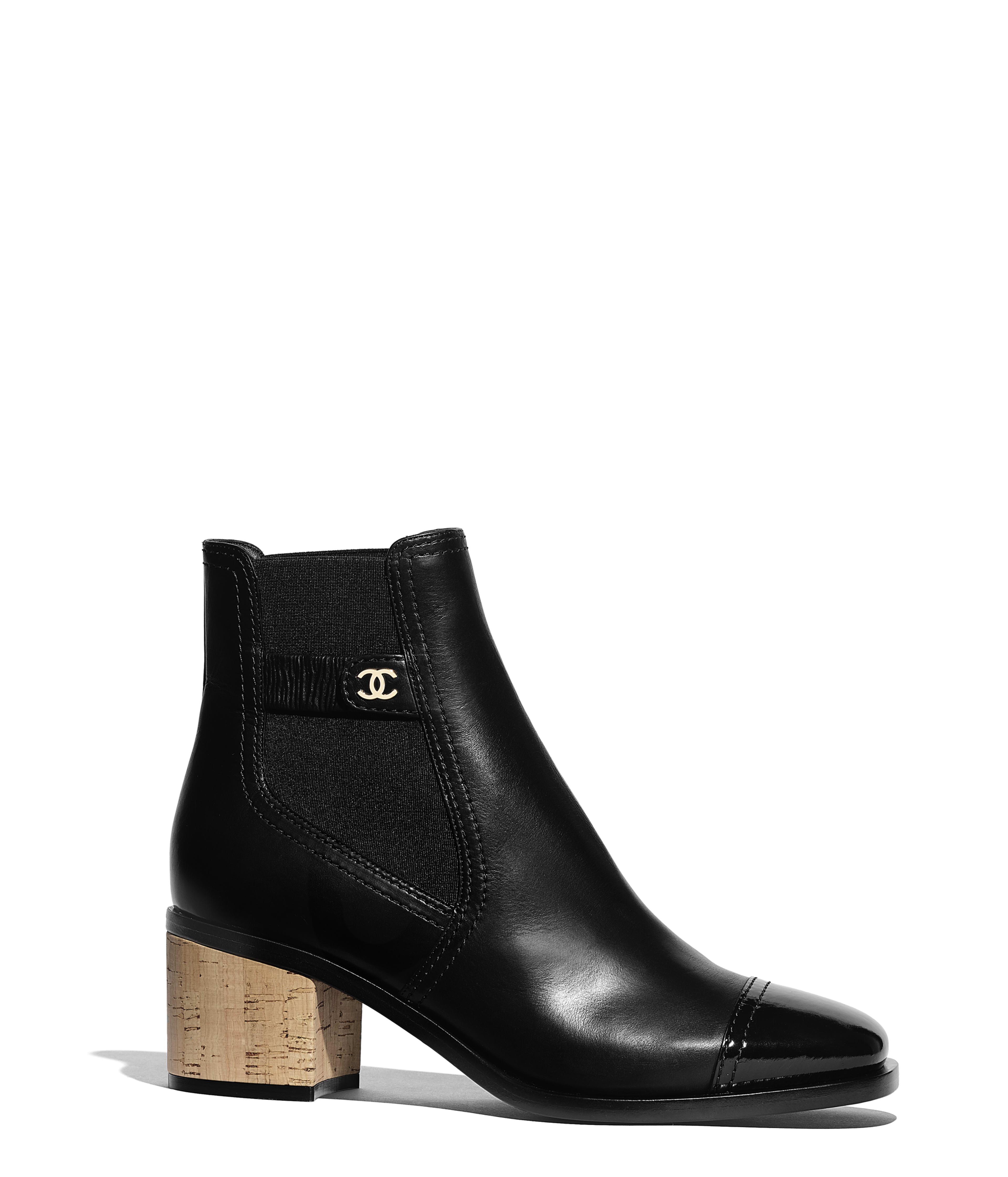 f9cbce000be1d2 Short Boots Calfskin, Patent Calfskin & Cork, Black Ref. G35046Y5333794305