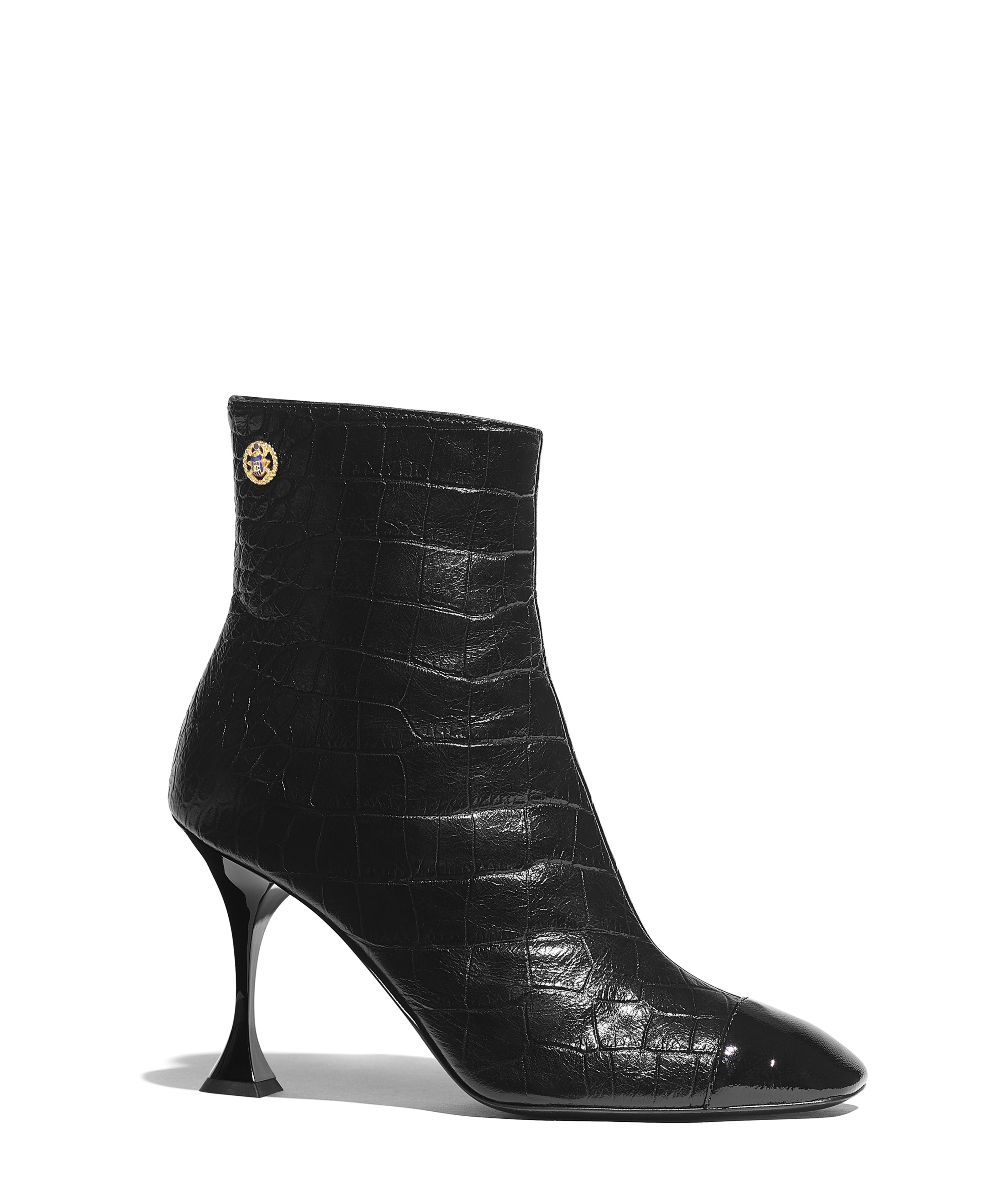 07671817c2 Short Boots Embossed Matte Calfskin & Patent Crumpled Lambskin, Black Ref.  G34903Y5337794305