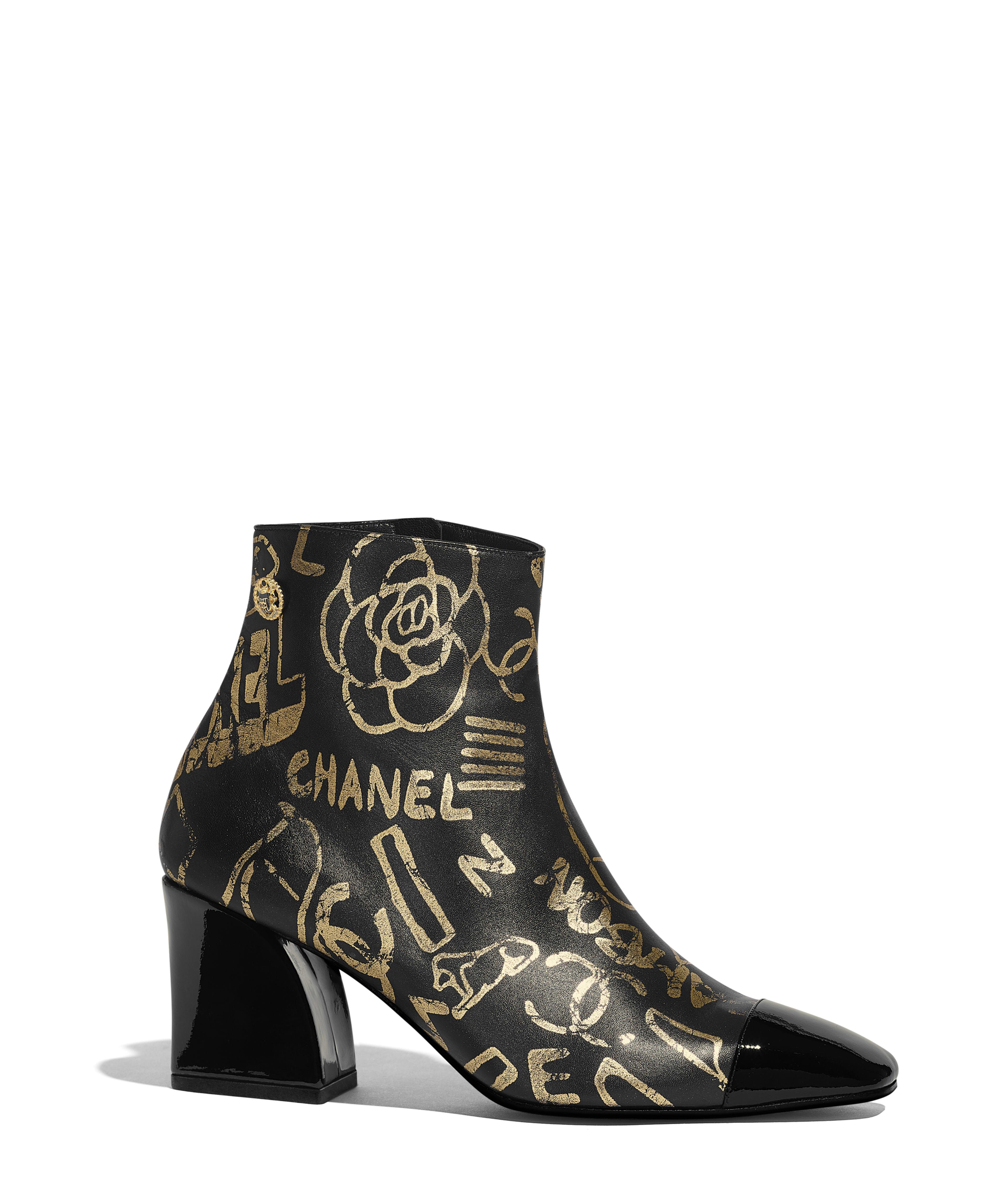3cc92a12c47266 Short Boots Printed Lambskin & Patent Calfskin, Gold & Black Ref.  G35073Y53384C0369