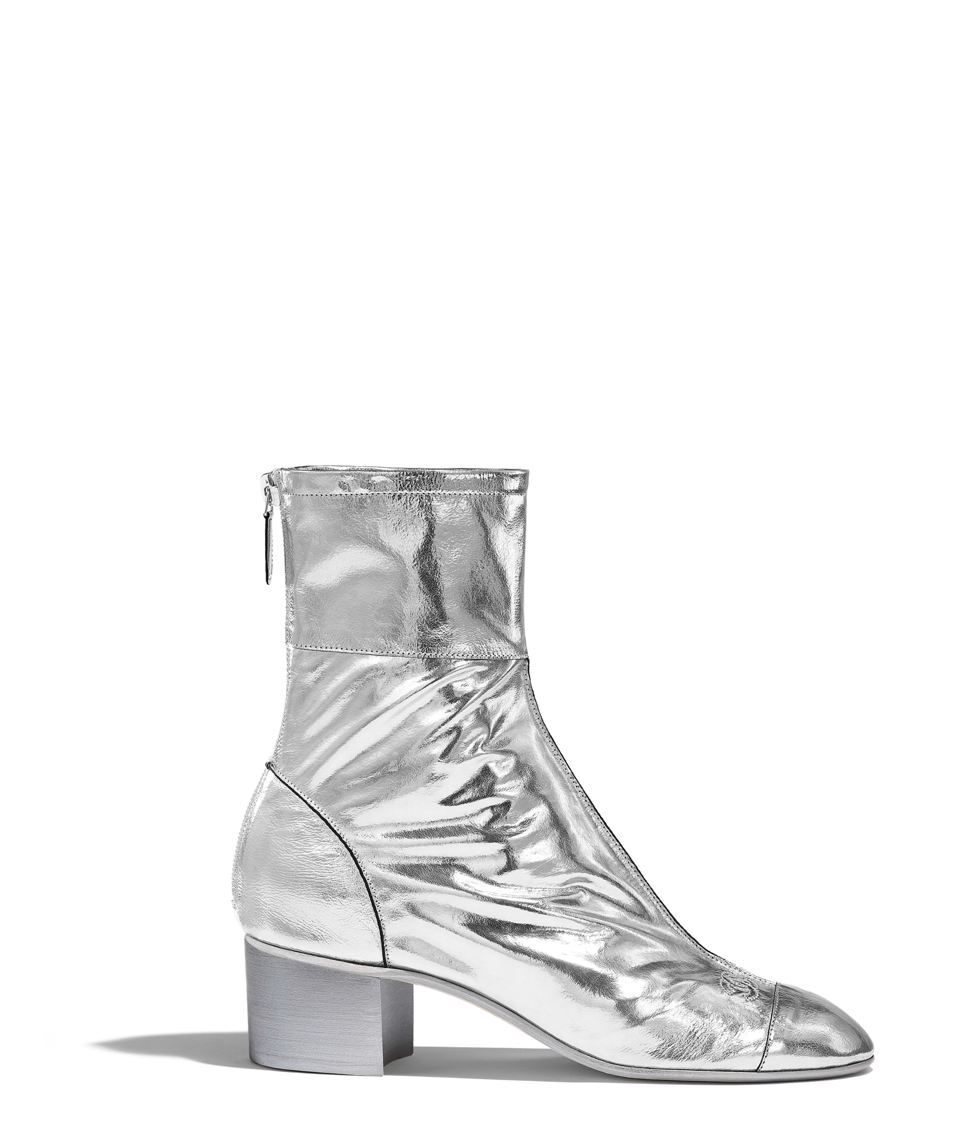 6d18a86478c Laminated Goatskin Silver Mary Janes