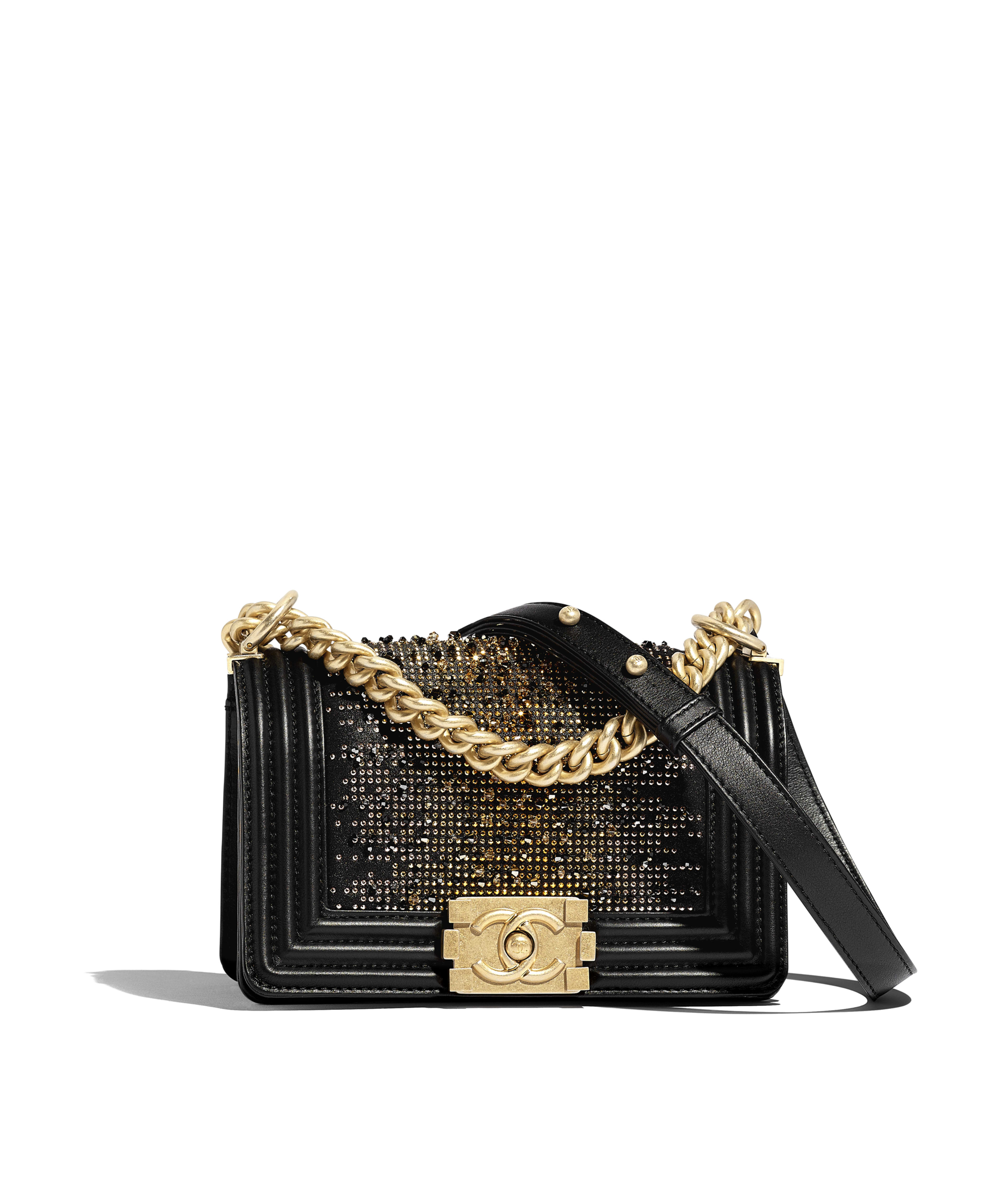 231add16802b Small BOY CHANEL Handbag Calfskin, Strass & Gold-Tone Metal, Black Ref.  A67085B0077794305