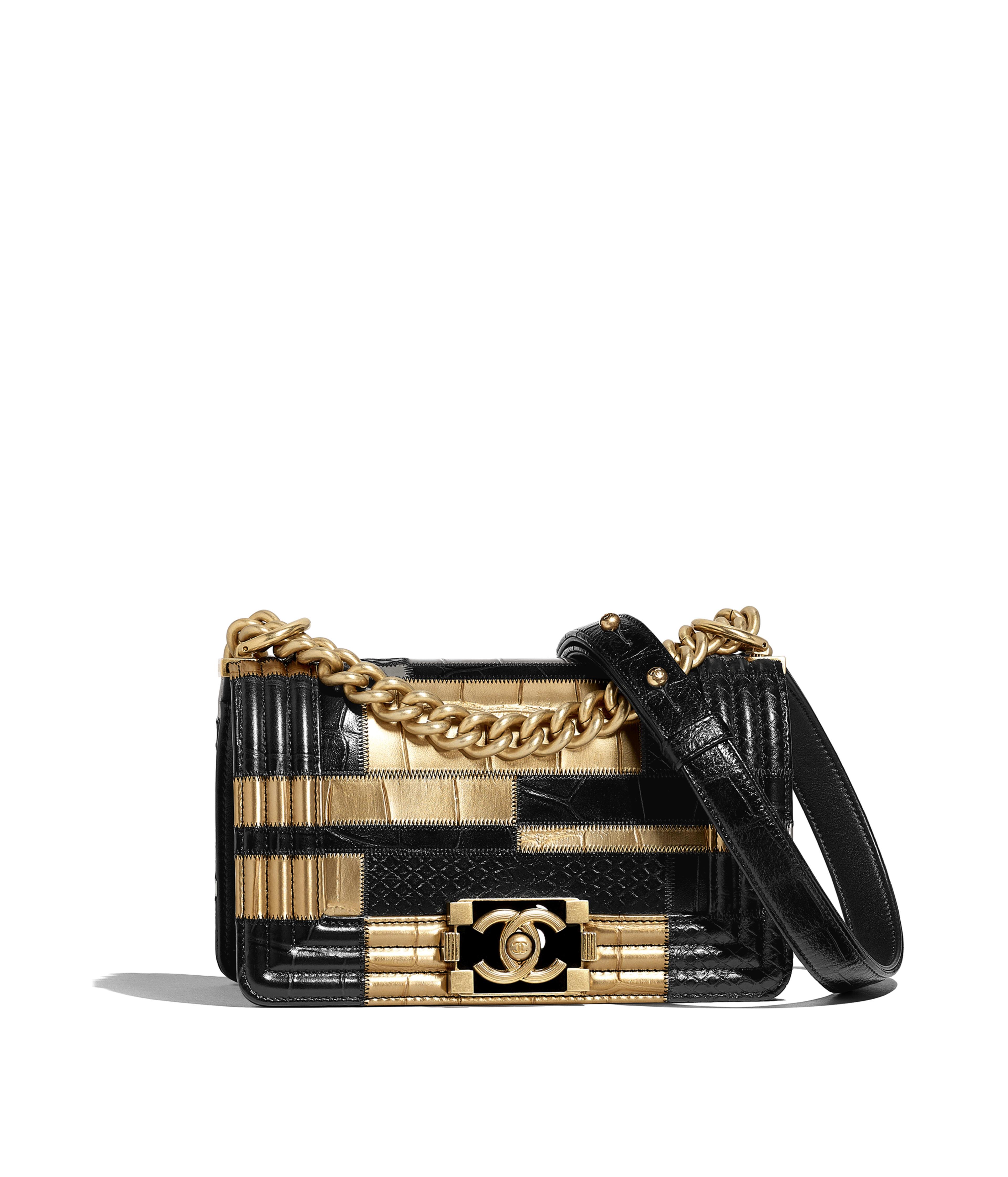 4729d3a44564 Small BOY CHANEL Handbag Crocodile Embossed Calfskin, Python Embossed  Calfskin & Gold-Tone Metal, Black & Gold Ref. A67085B00788N0784