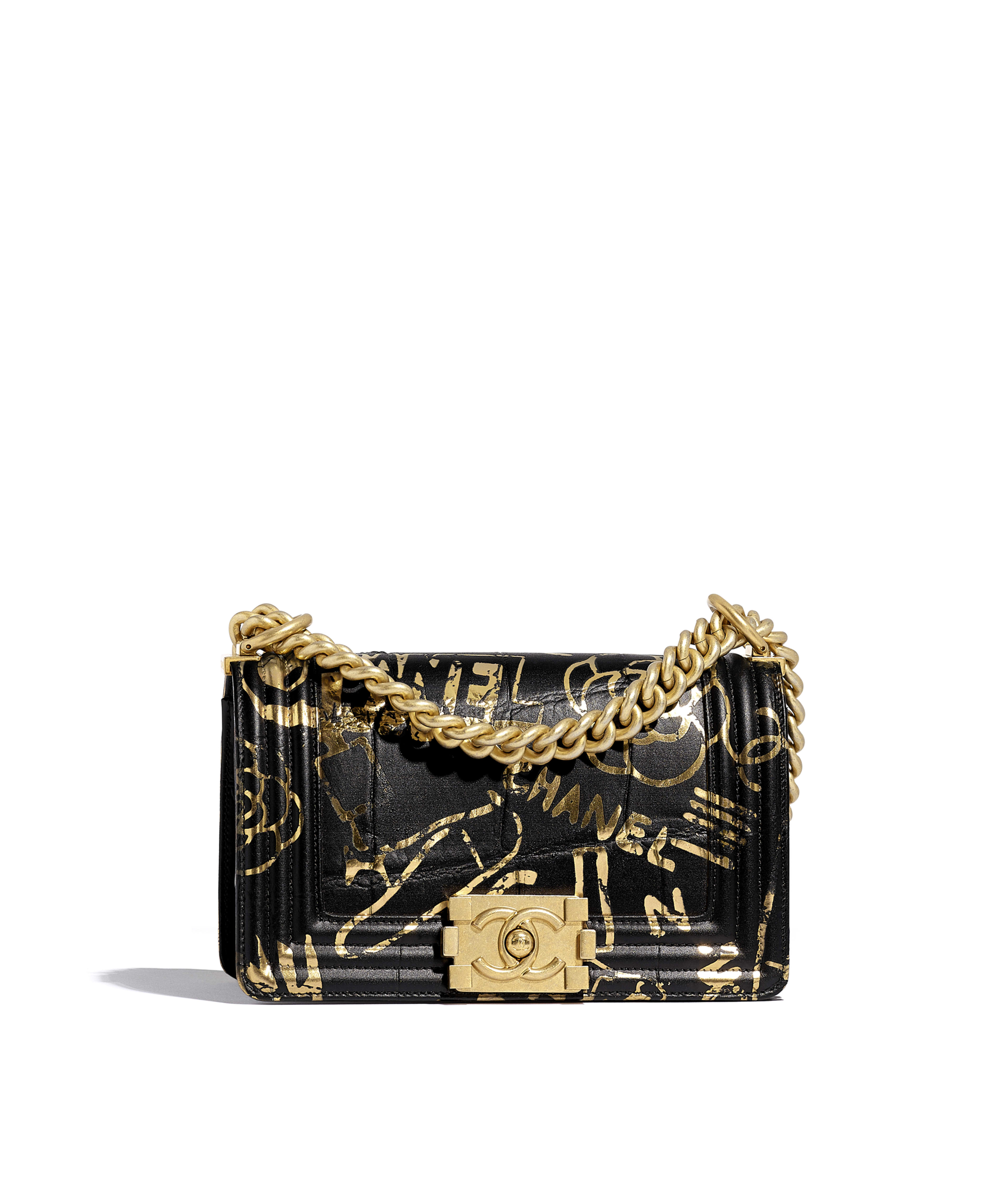 6ce756aa468ba7 Small BOY CHANEL Handbag Crocodile Embossed Printed Leather & Gold-Tone  Metal, Black & Gold Ref. A67085B00787N0784