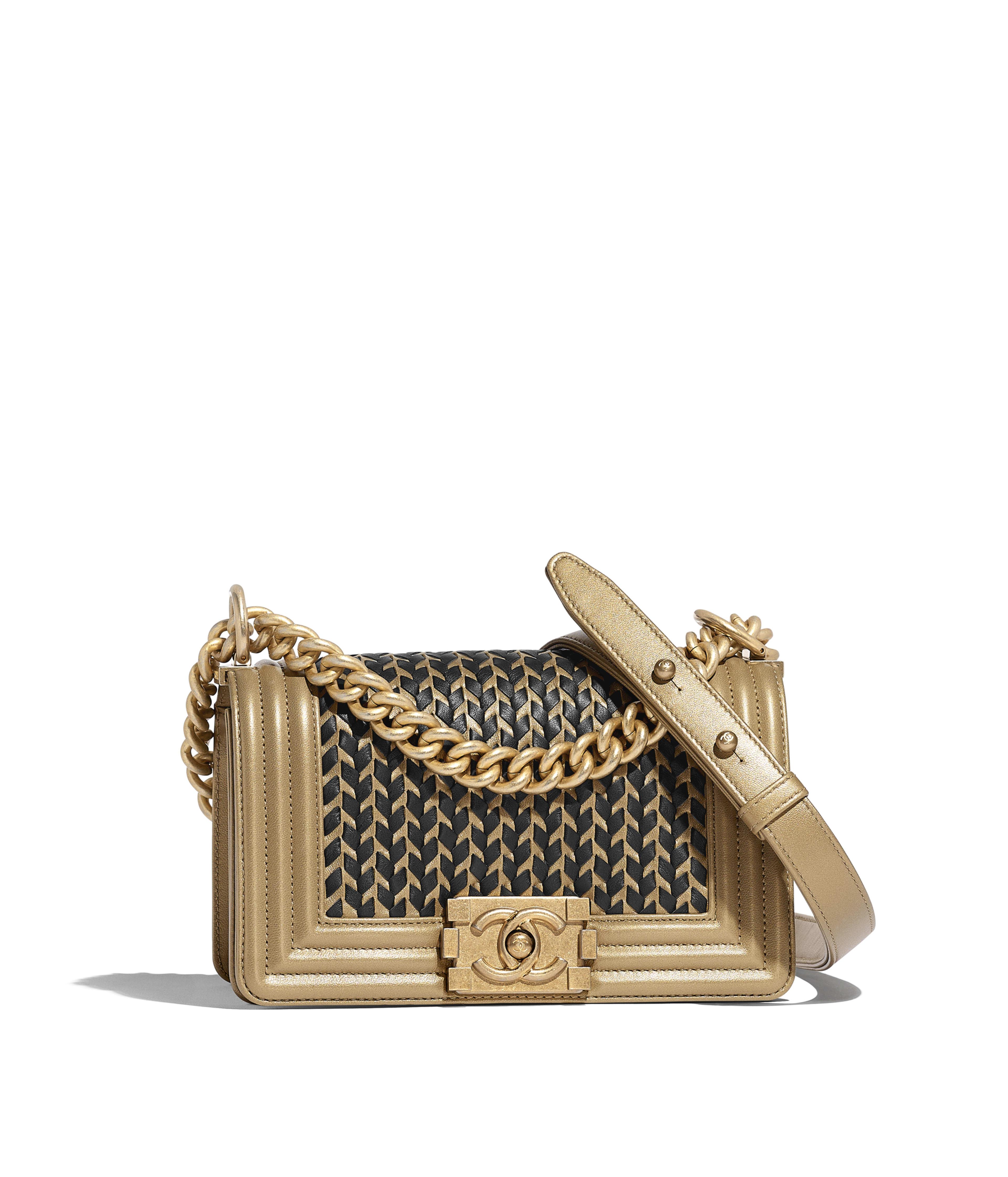 345043dfbeab Small BOY CHANEL Handbag Metallic Lambskin & Gold-Tone Metal, Gold & Black  Ref. A67085B00698N4738