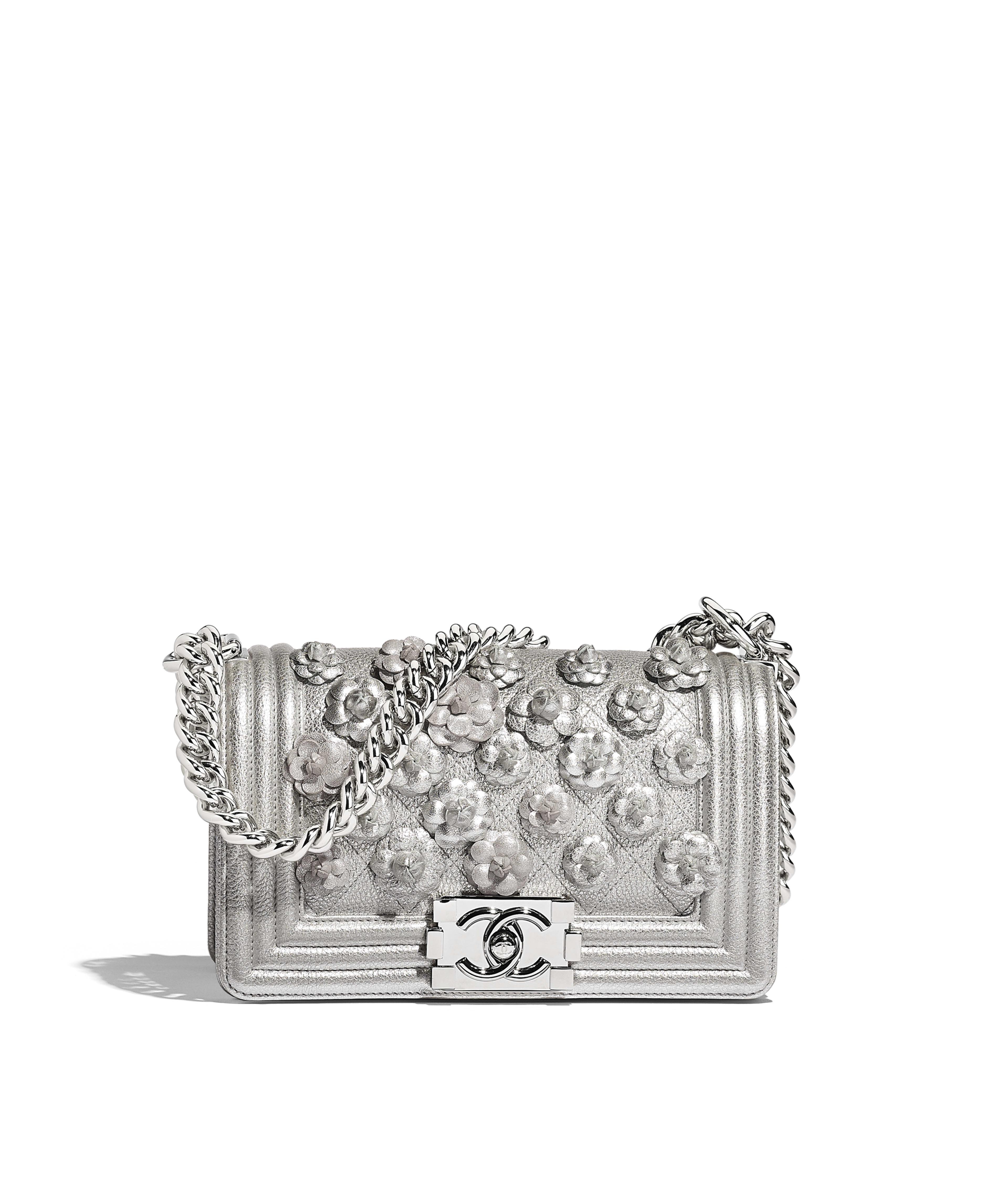 ff9507033e4 Small BOY CHANEL Handbag Embroidered Metallic Grained Calfskin & Silver-Tone  Metal, Silver Ref. A67085B0012545002