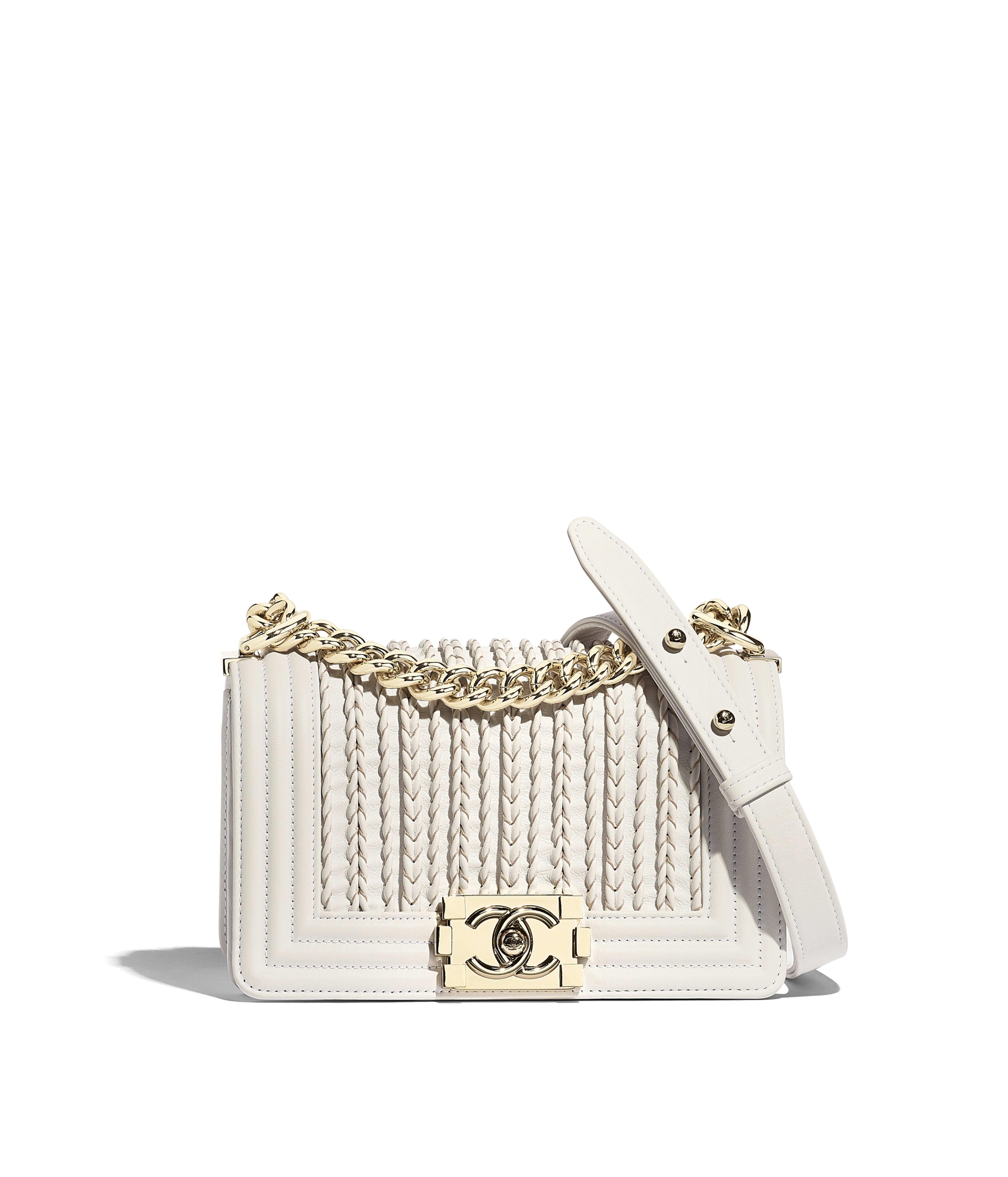7bf9baa4da53 Small BOY CHANEL Handbag Embroidered Calfskin, Smooth Calfskin & Gold-Tone  Metal, White Ref. A67085B0003110601
