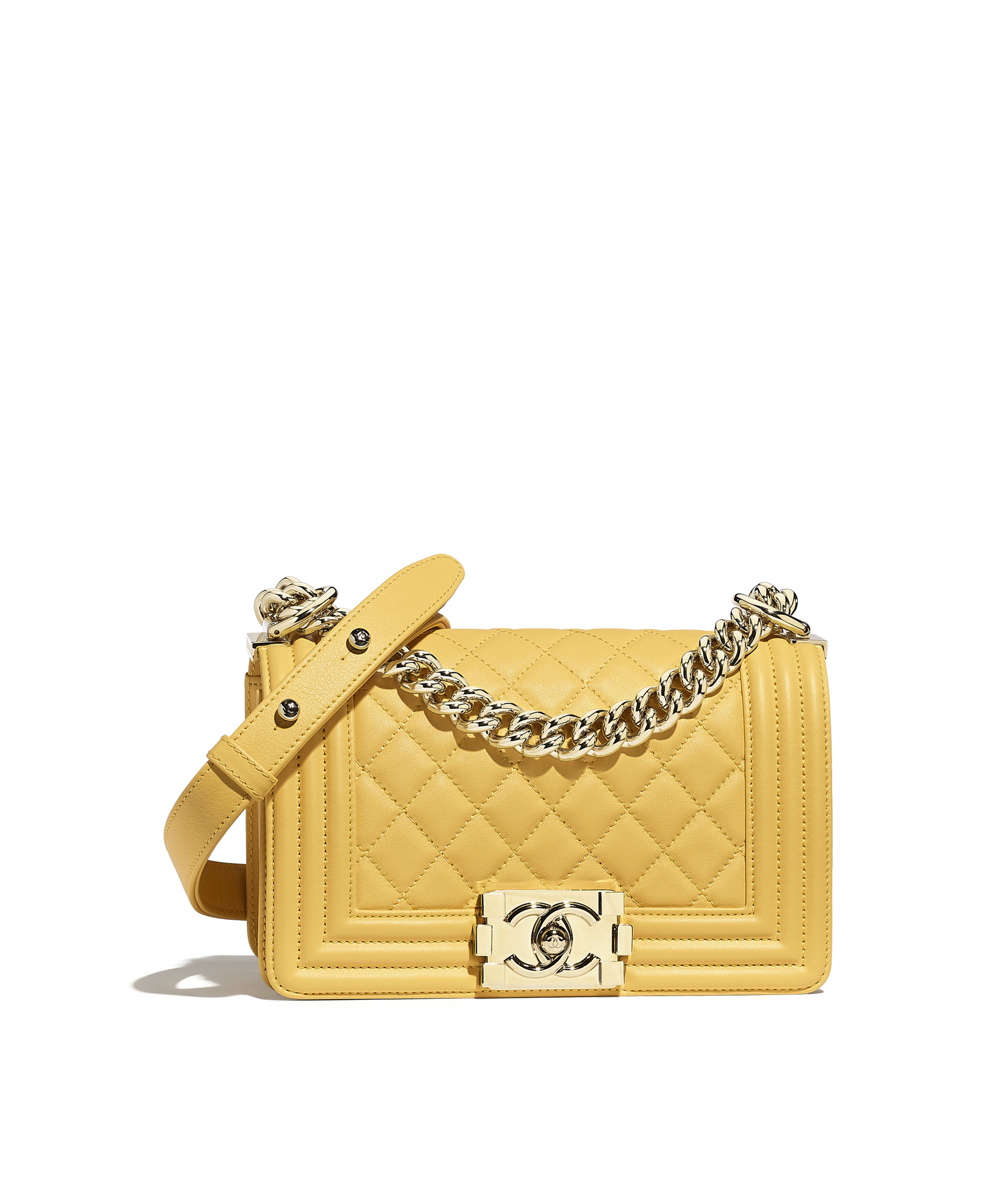 7dc2f26a6009 Small BOY CHANEL Handbag Calfskin & Gold-Tone Metal, Yellow Ref.  A67085Y255695B642