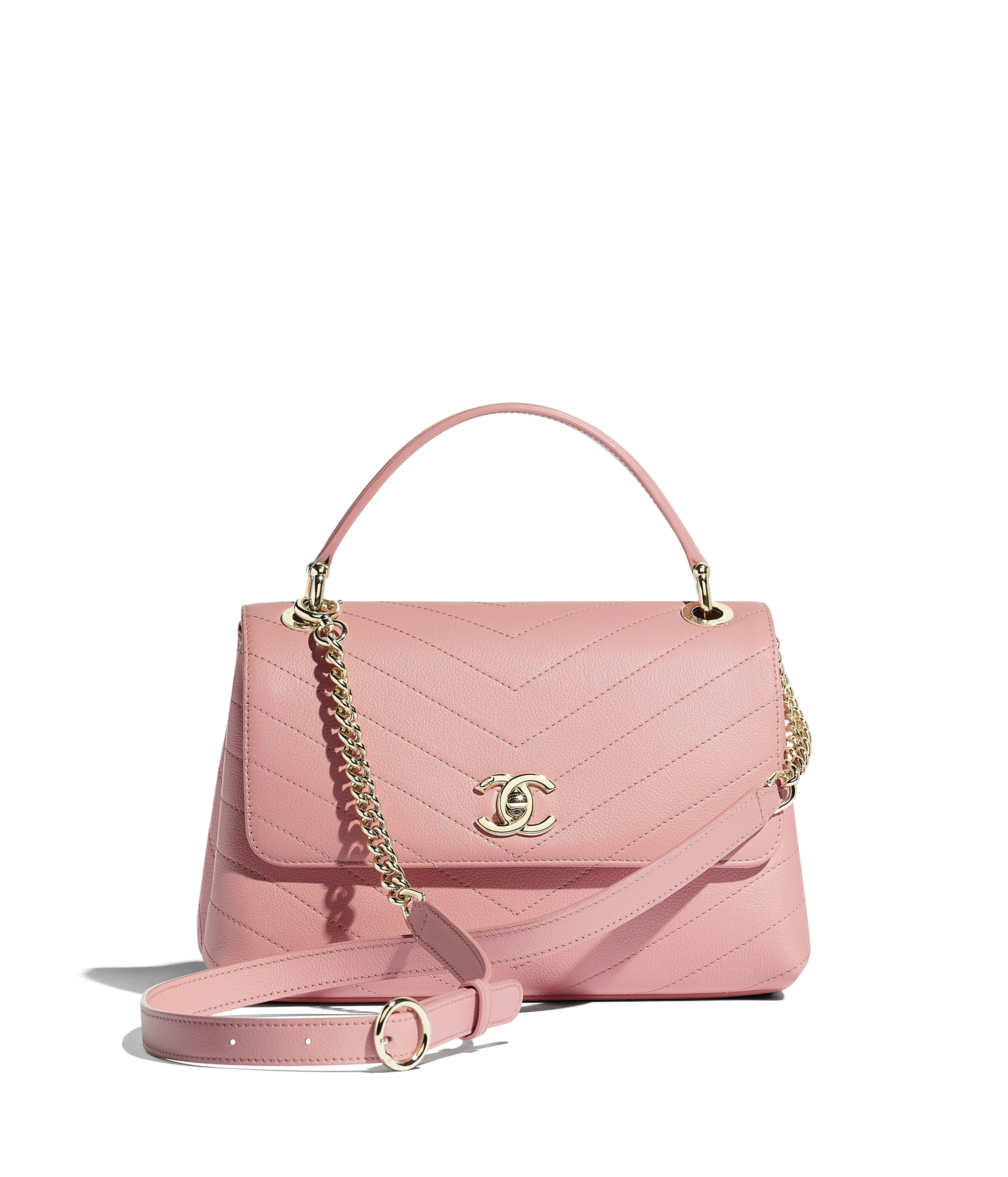 39286eeace0fcc Small Flap Bag with Top Handle Grained Calfskin & Gold-Tone Metal, Pink  Ref. A57147Y83381N0897