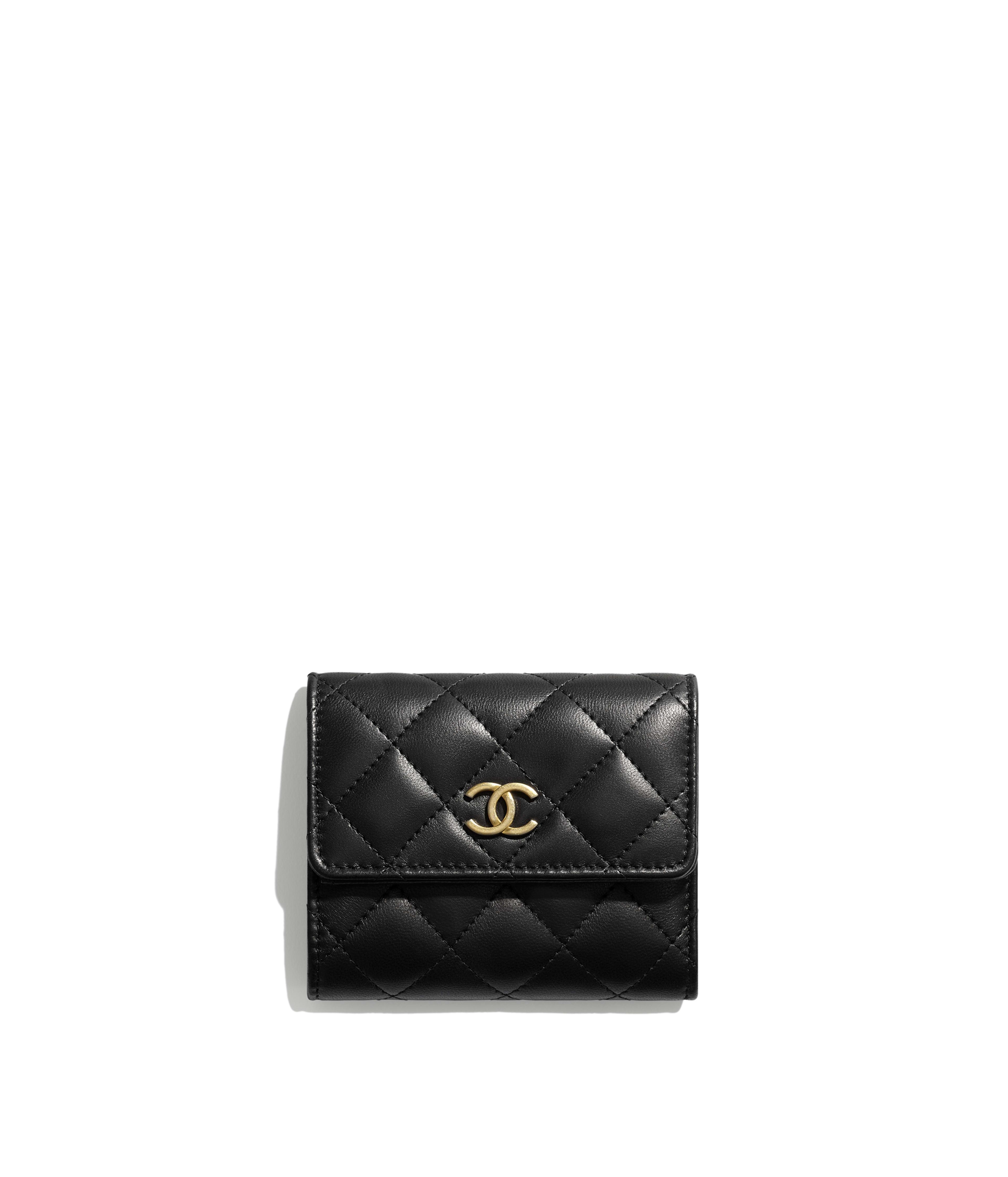 aa8301d79c6e Small Flap Wallet Lambskin & Gold-Tone Metal, Black Ref. AP0096B00882N4807