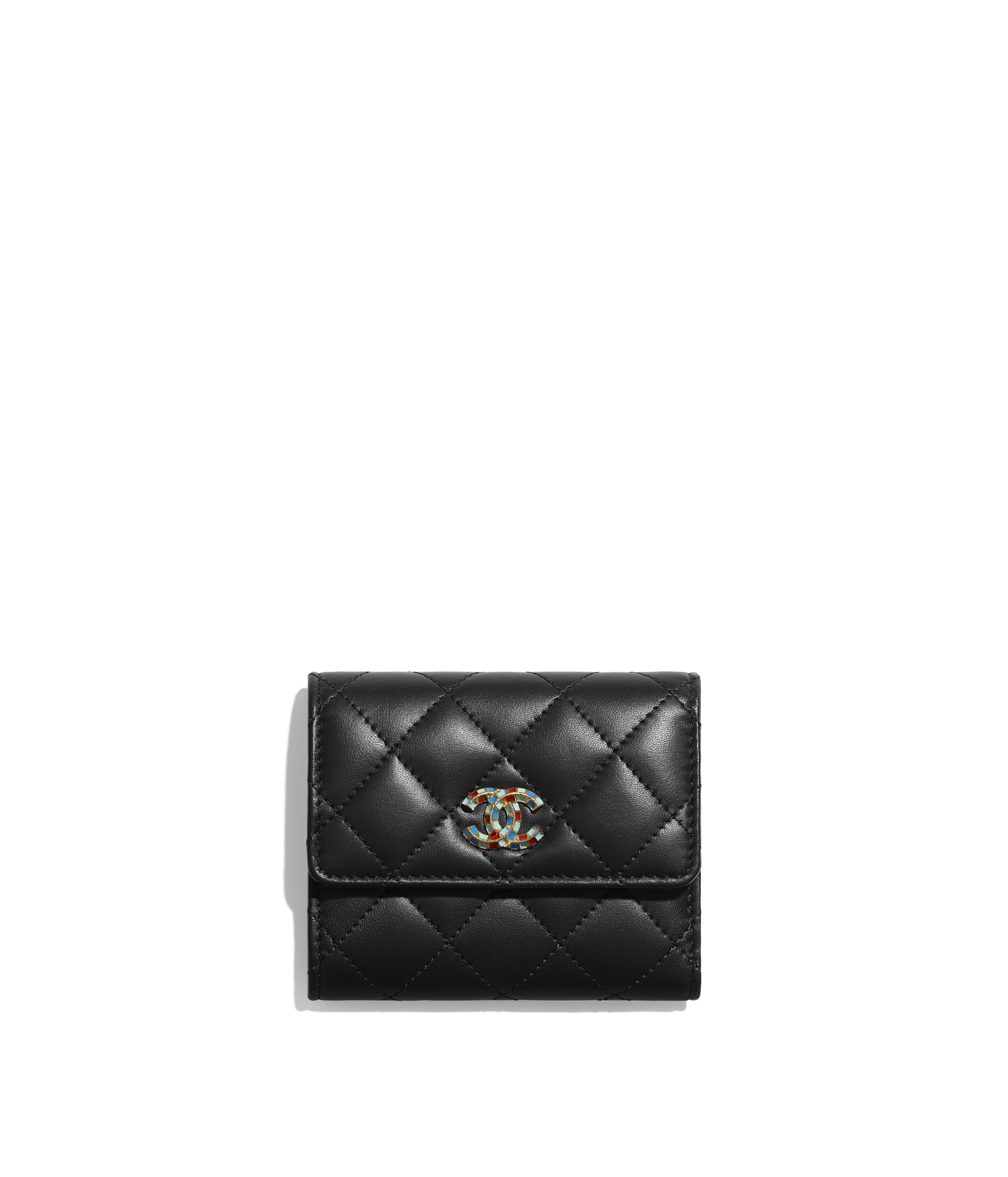 d55923c7042275 Small Flap Wallet Lambskin & Gold-Tone Metal, Black Ref. AP0523B0086694305
