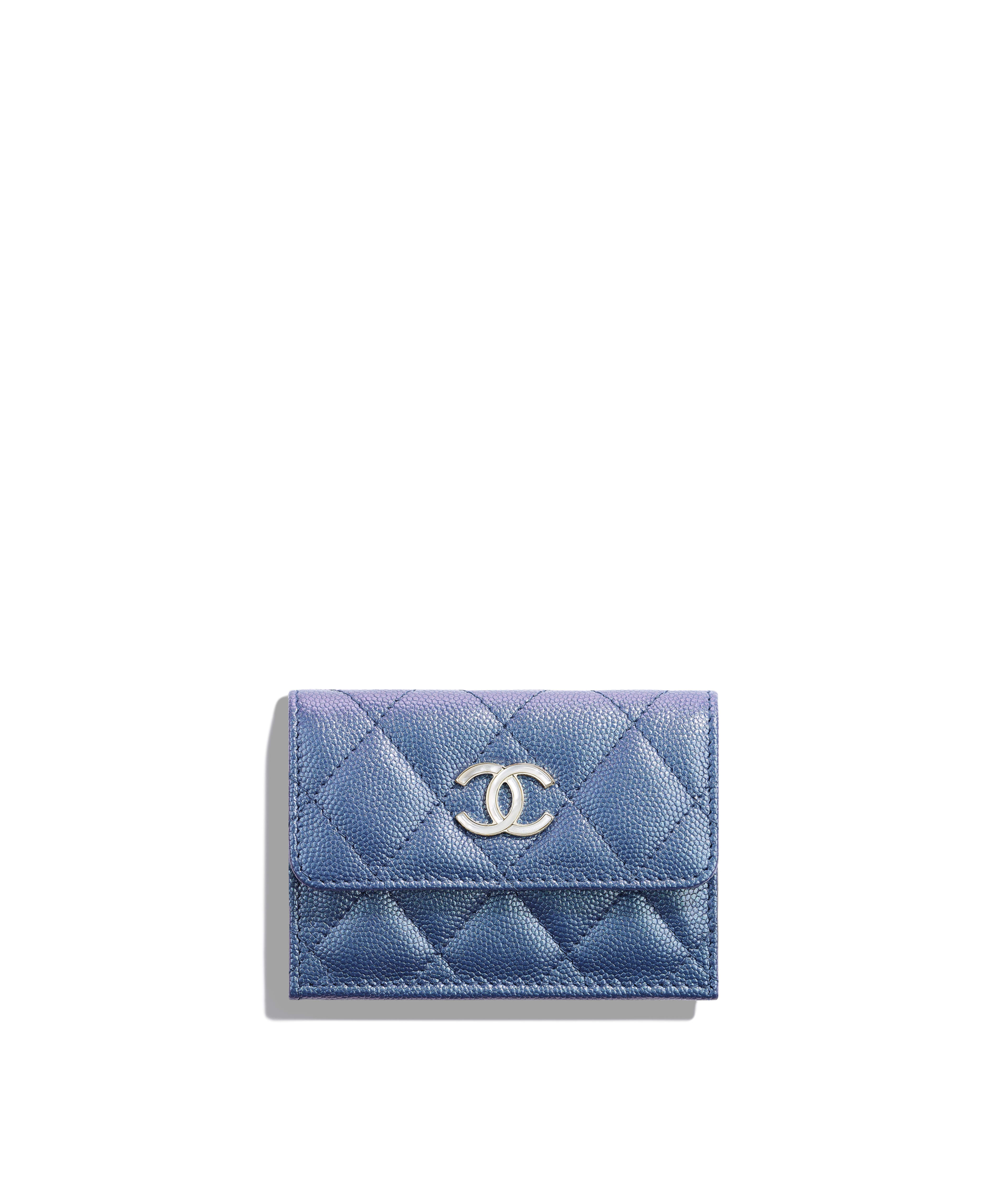 b729eb55a9dcf2 Small Flap Wallet Iridescent Grained Lambskin & Gold-Tone Metal, Dark Blue  Ref. AP0310B00483N0901