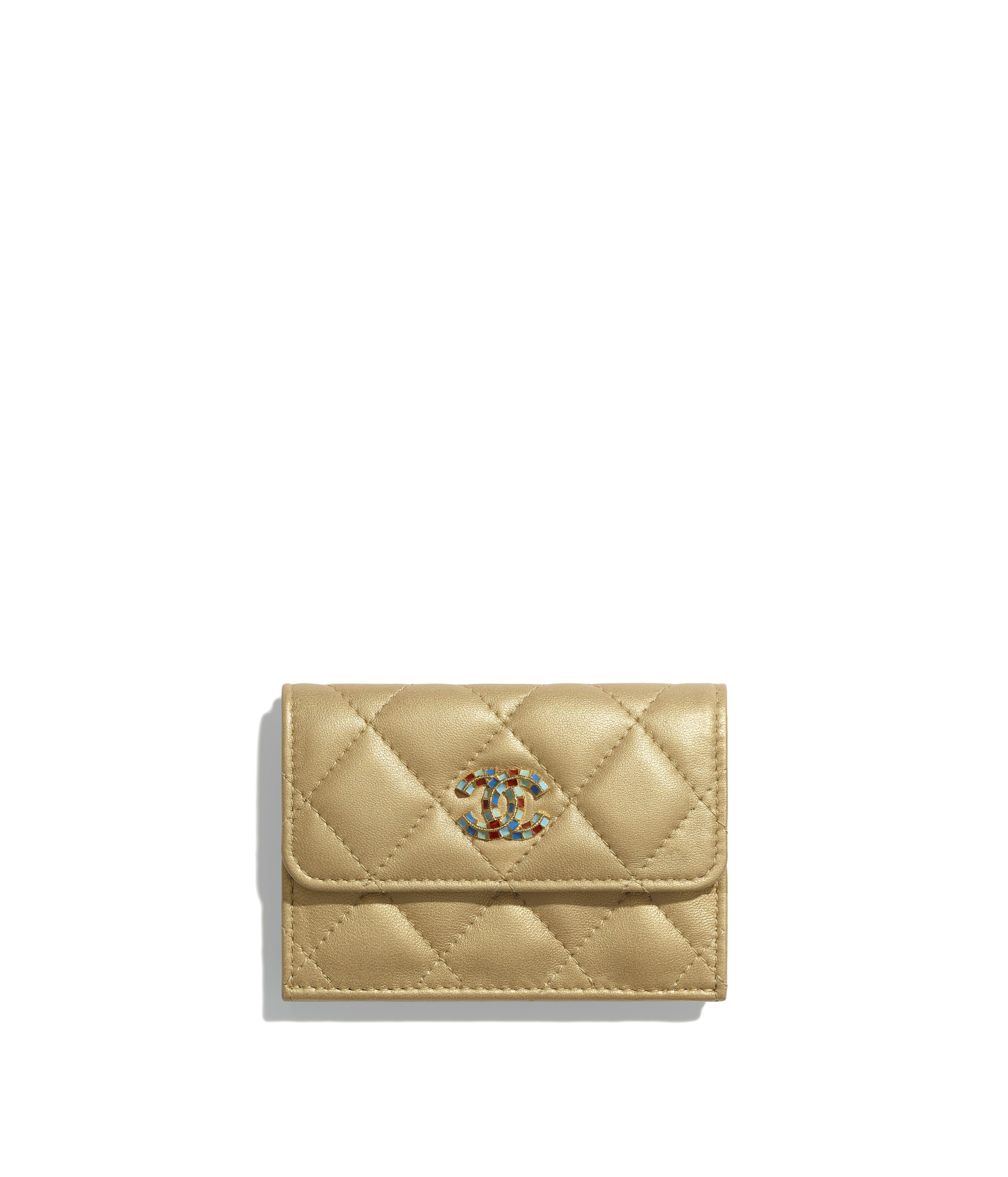 174deb703e55 Small Flap Wallet Metallic Lambskin & Gold-Tone Metal, Gold Ref.  AP0524B00868N4734