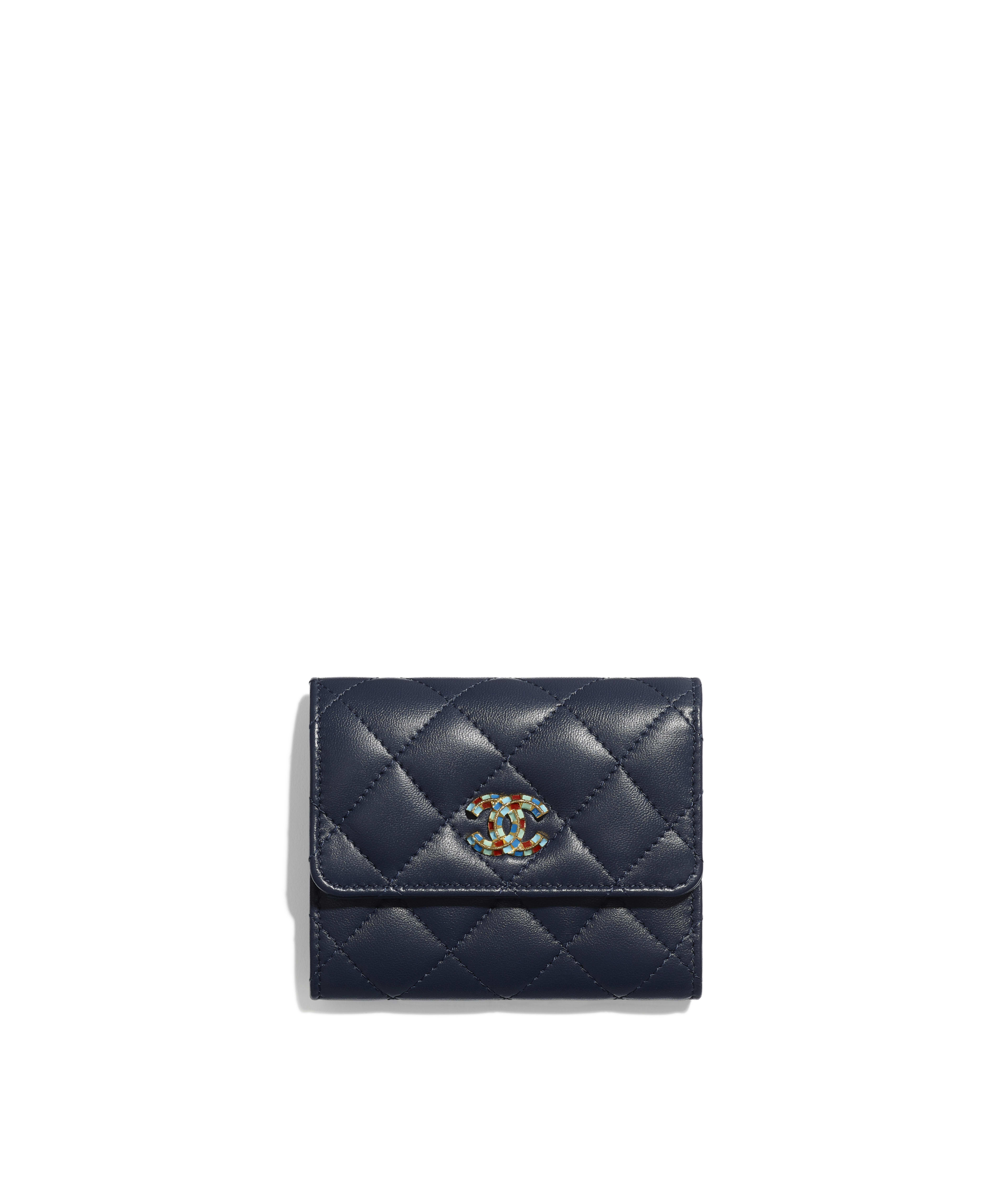 ac8146a545 Small Flap Wallet Lambskin & Gold-Tone Metal, Navy Blue Ref.  AP0522B00866N4713
