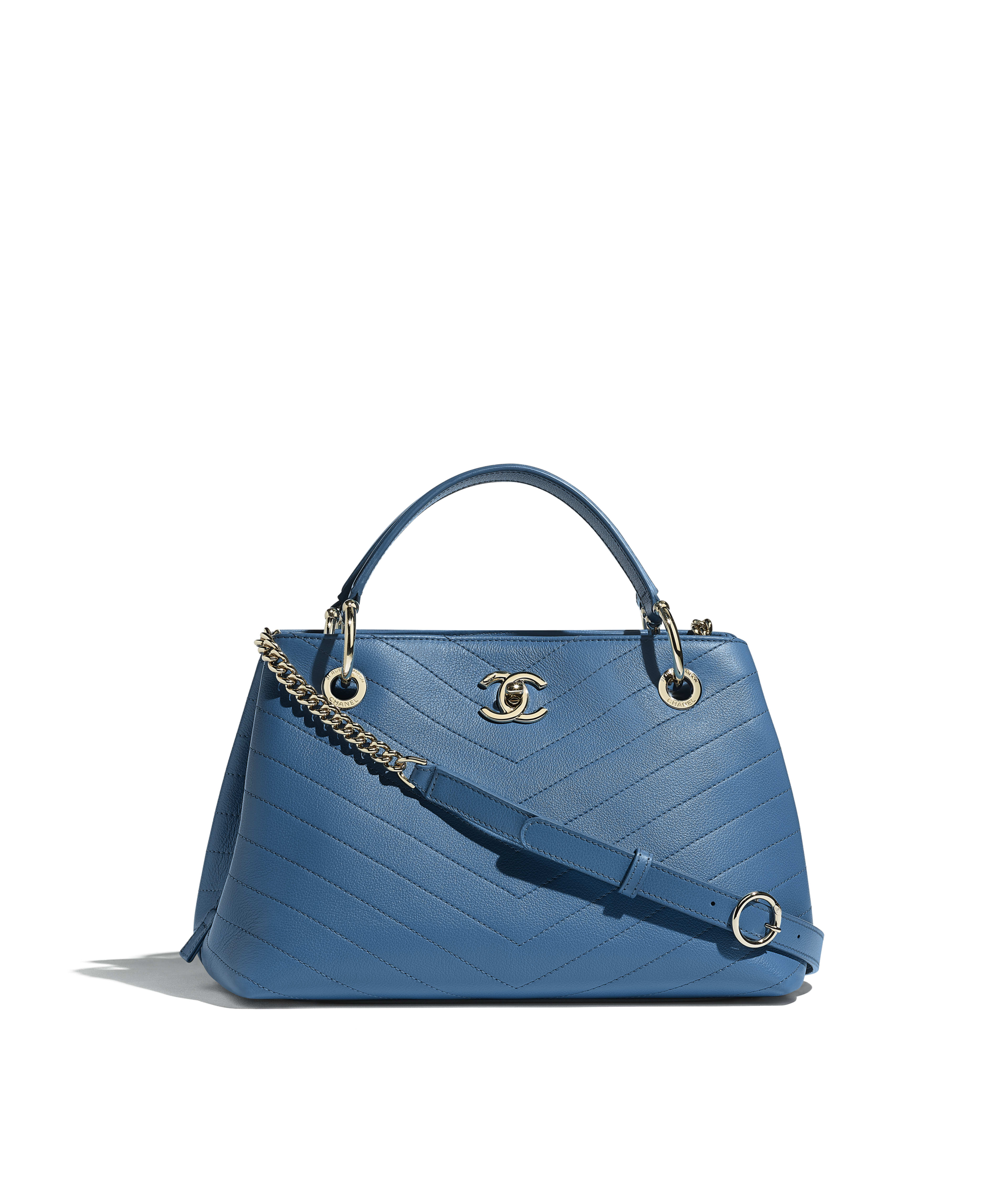 034c636d7d3 Small Zipped Shopping Bag Grained Calfskin & Gold-Tone Metal, Blue Ref.  A57150Y83381N0902