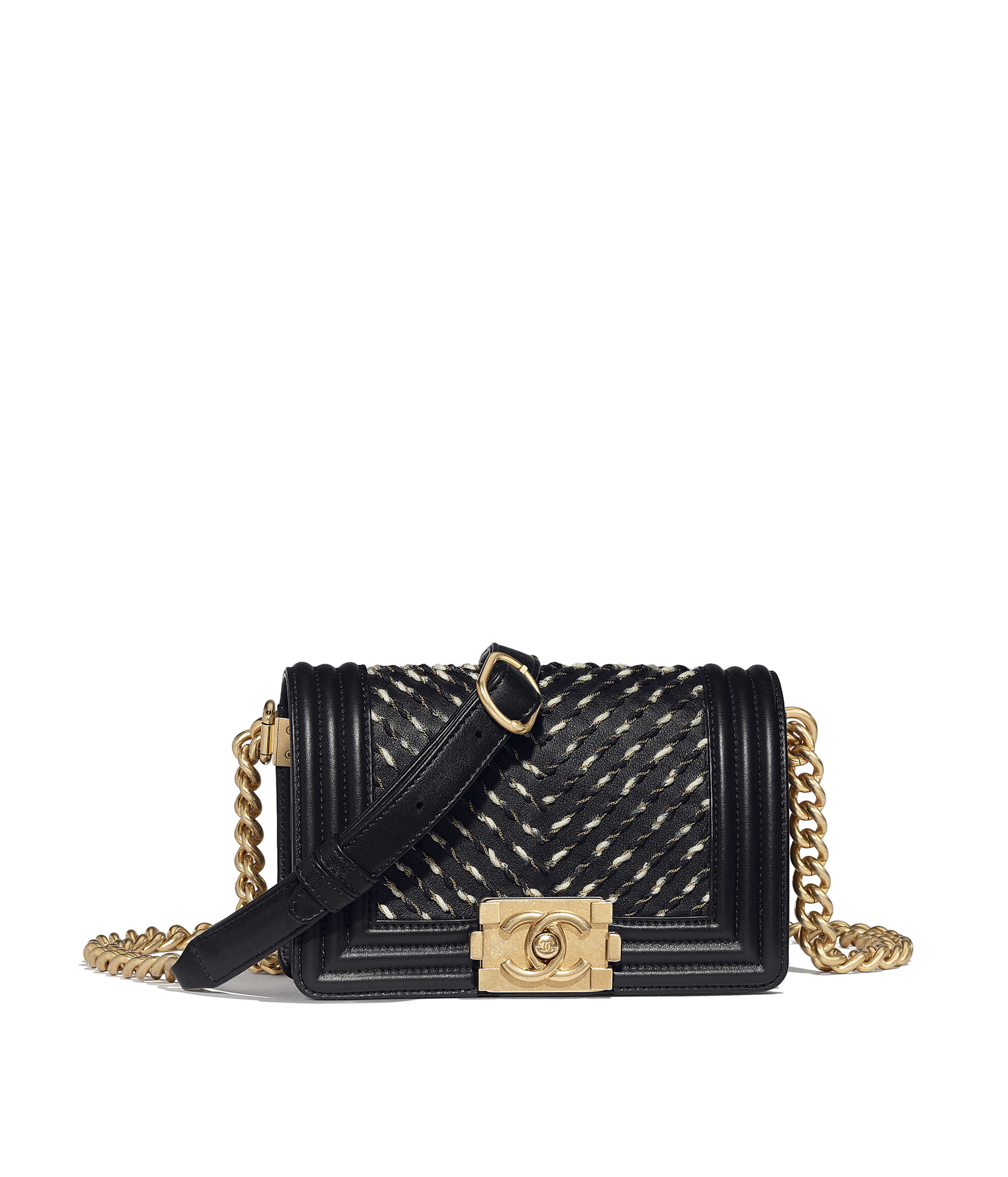 763b79dcf5b1 Waist Bag Embroidered Calfskin & Gold-Tone Metal, Black Ref.  AS0093Y8412094305