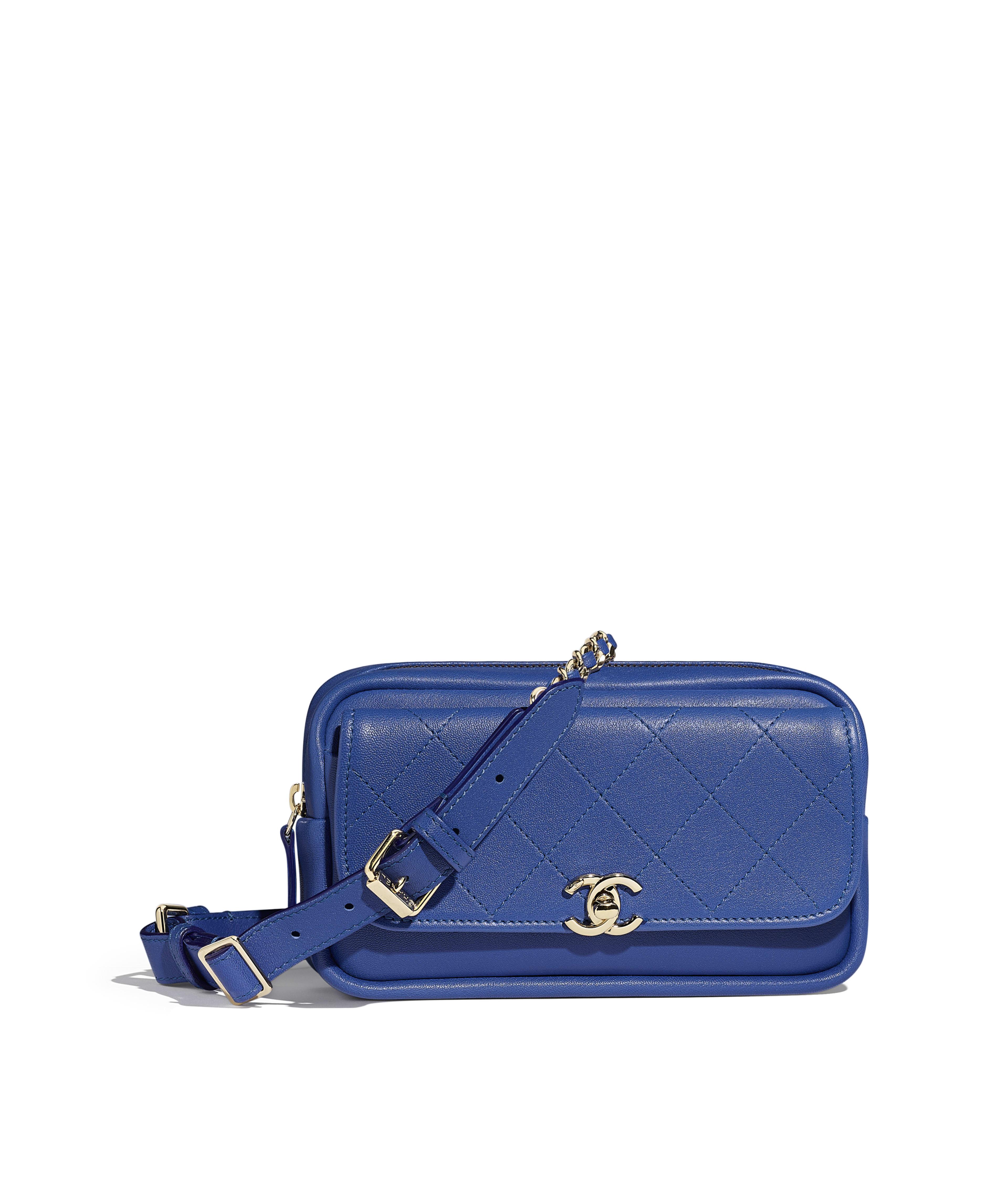 e09416c6d988 Waist Bag Lambskin & Gold-Tone Metal, Dark Blue Ref. AS0142Y841575B645