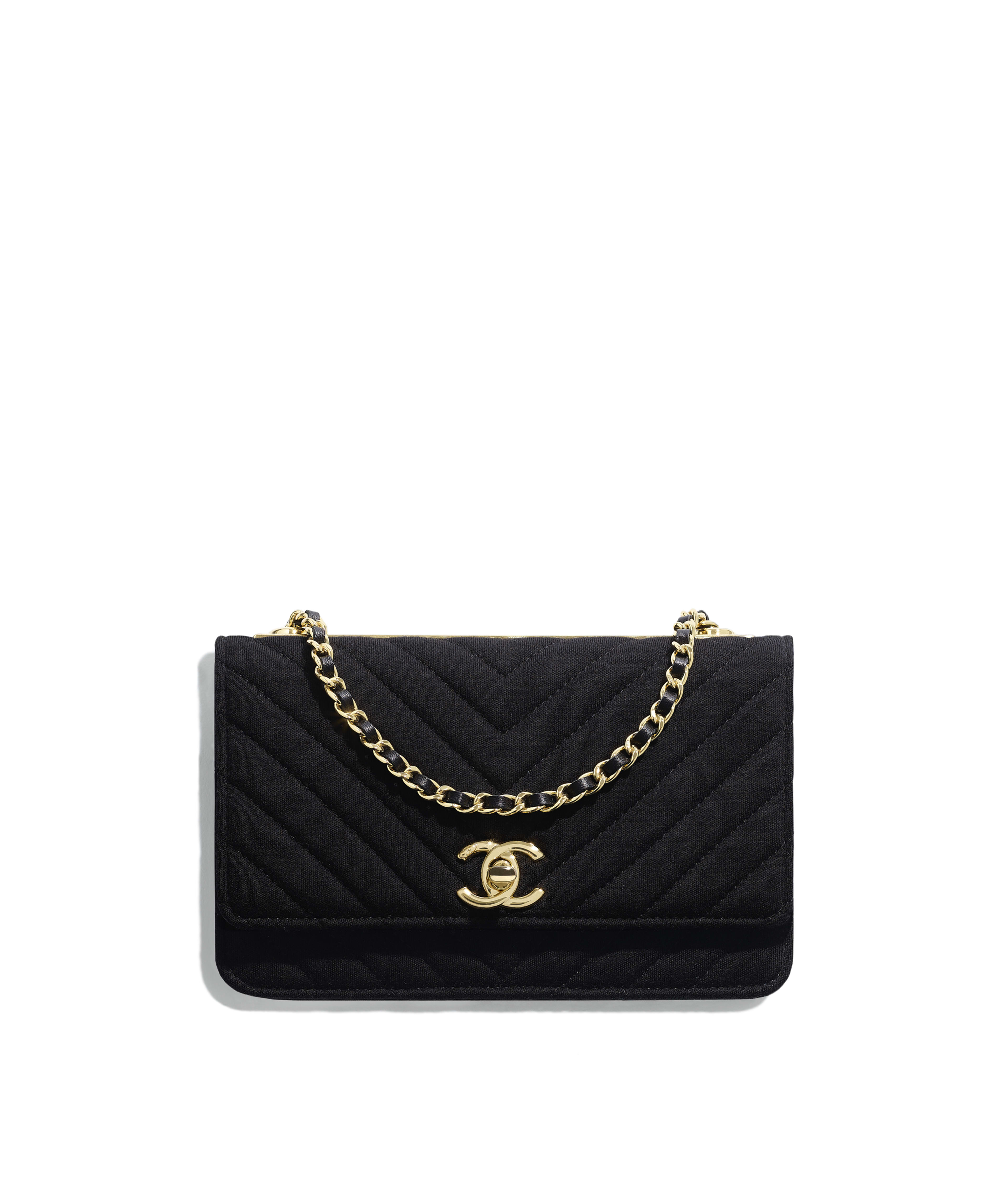 cd6d682a610d Wallet on Chain Jersey & Gold-Tone Metal, Black Ref. A80982Y8417994305