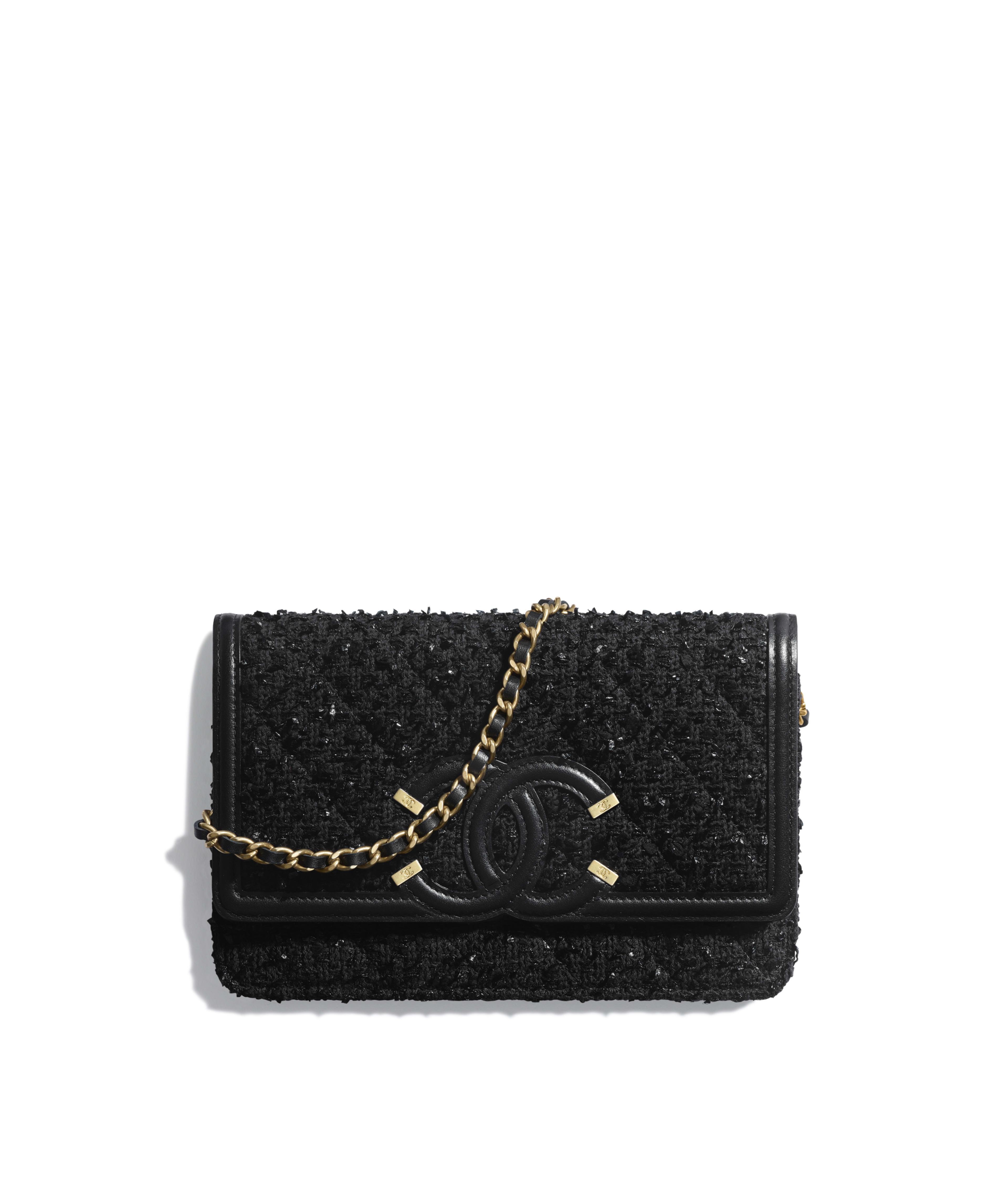c0d9871bfa7e Wallet on Chain Tweed, Calfskin & Gold-Tone Metal, Black Ref.  A84451B0040894305