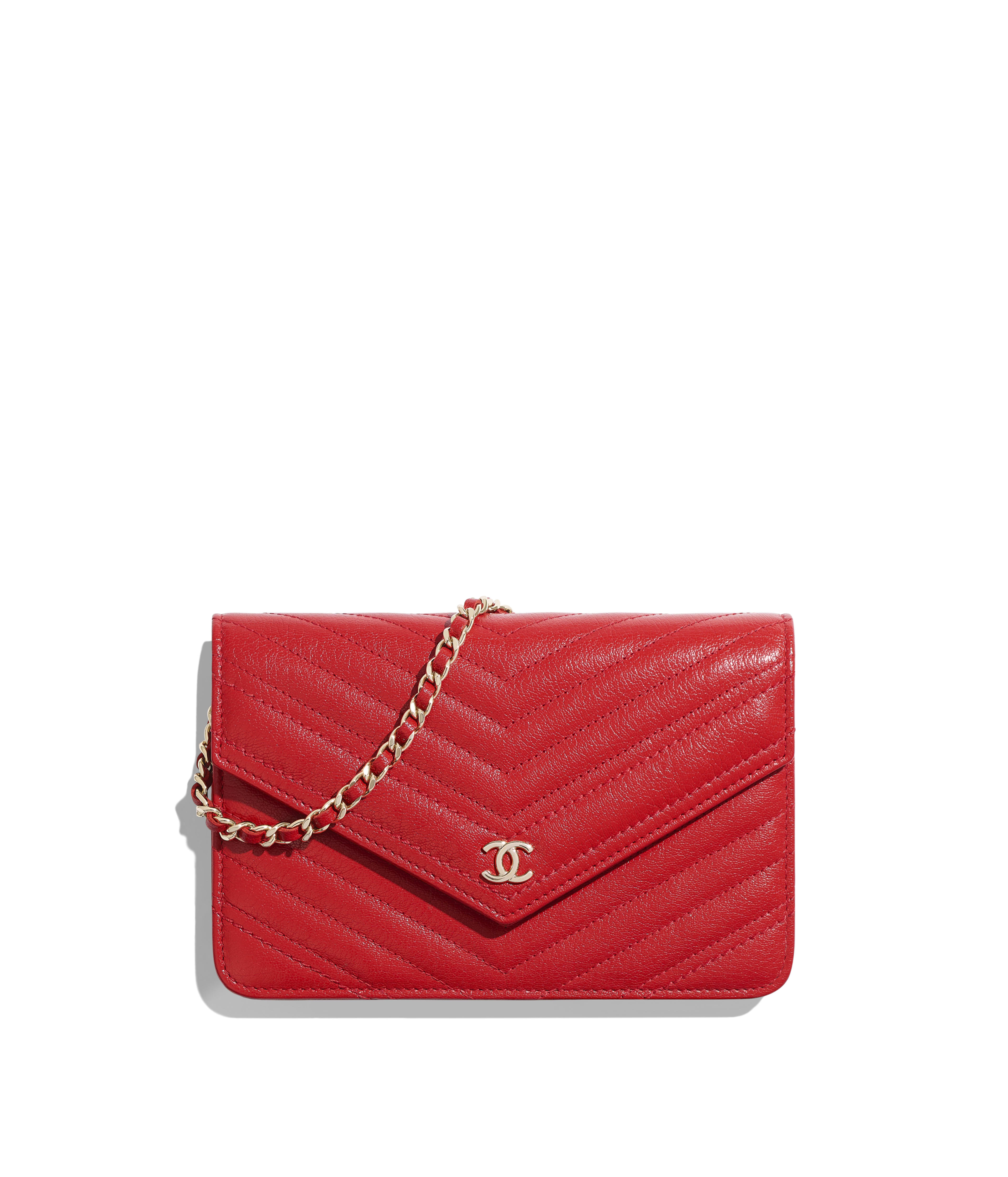 b906d0ca445fef Wallet on Chain Goatskin & Gold-Tone Metal, Red Ref. A84350B00047N0413