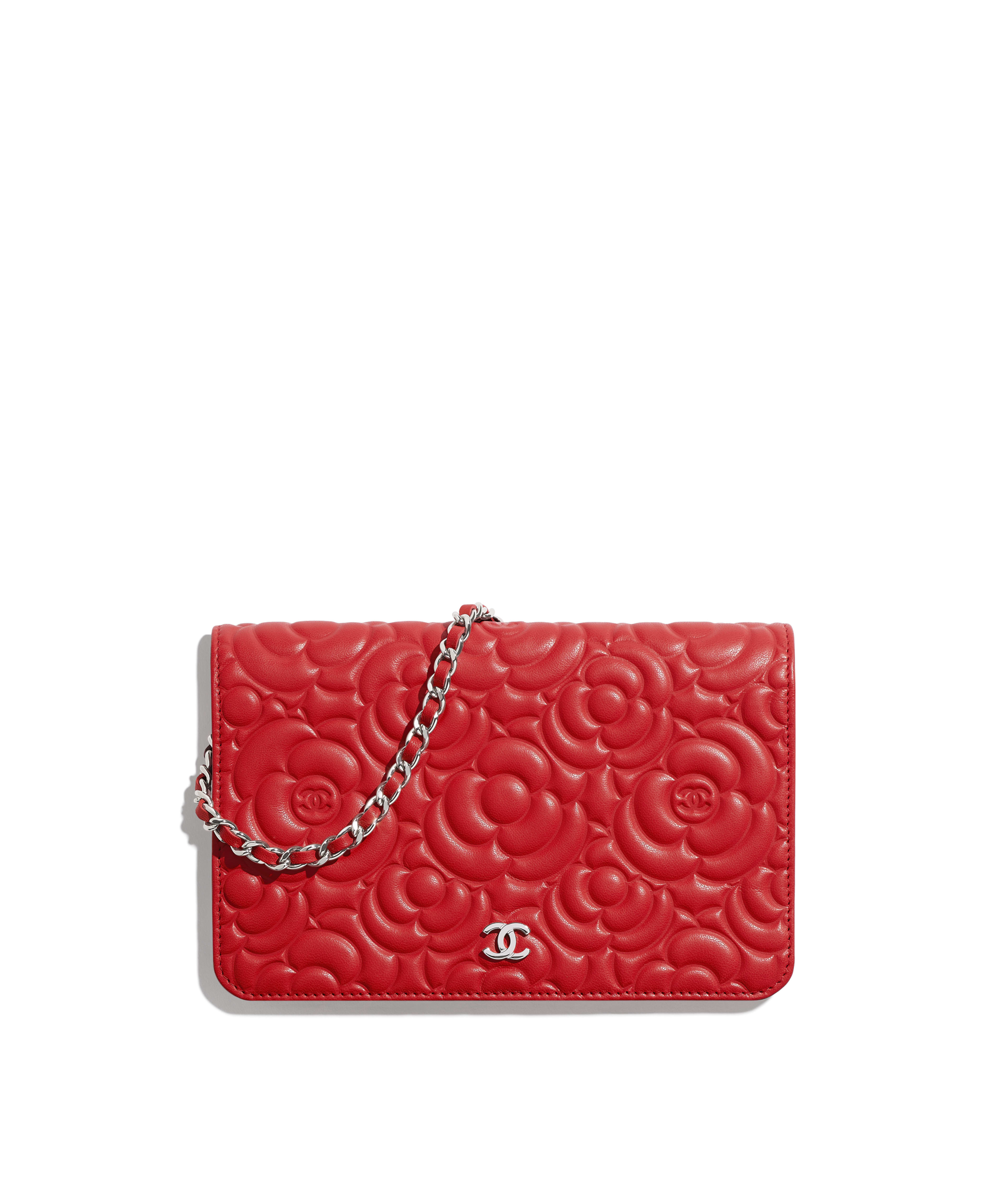 57c8790986b3 Wallet on Chain Lambskin & Silver-Tone Metal, Red Ref. A82336B00077N0413