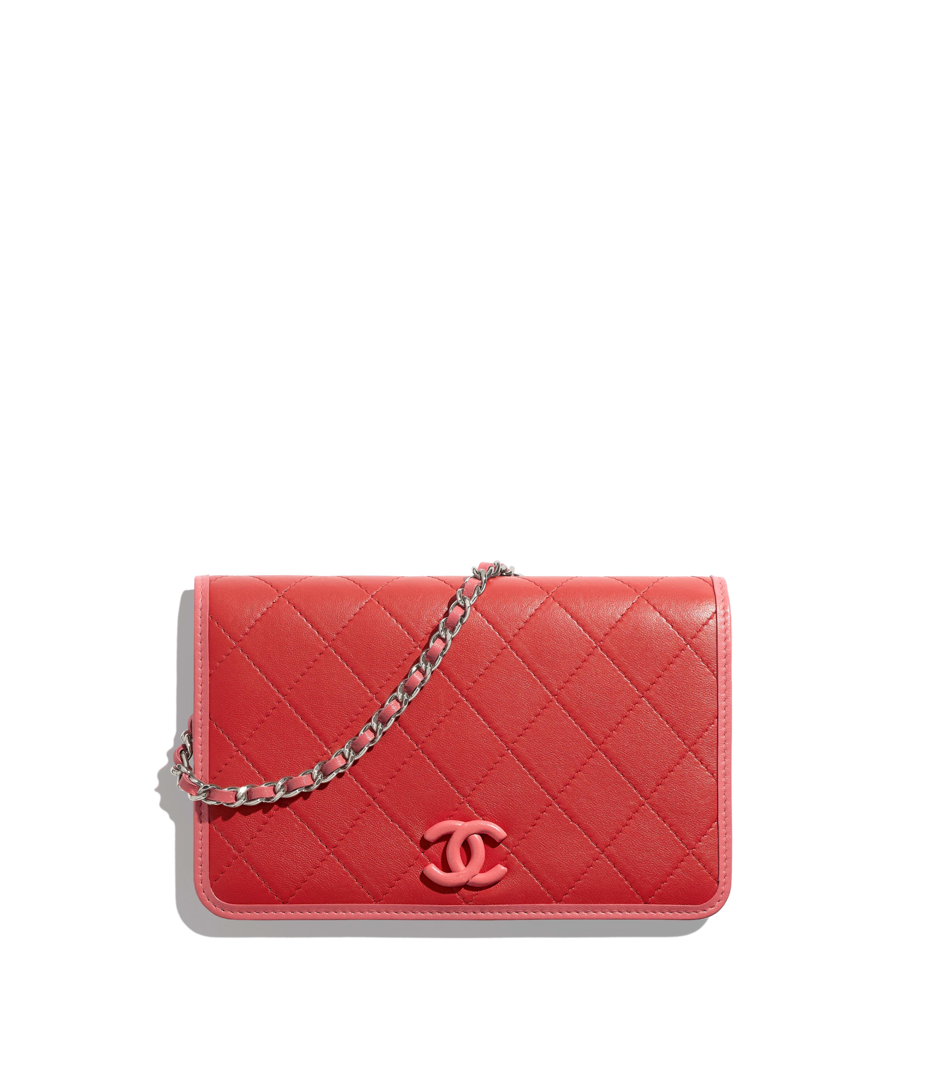 8a80225c14fde9 Wallet on Chain Lambskin & Silver-Tone Metal, Red & Pink Ref.  AP0059B00050N0437