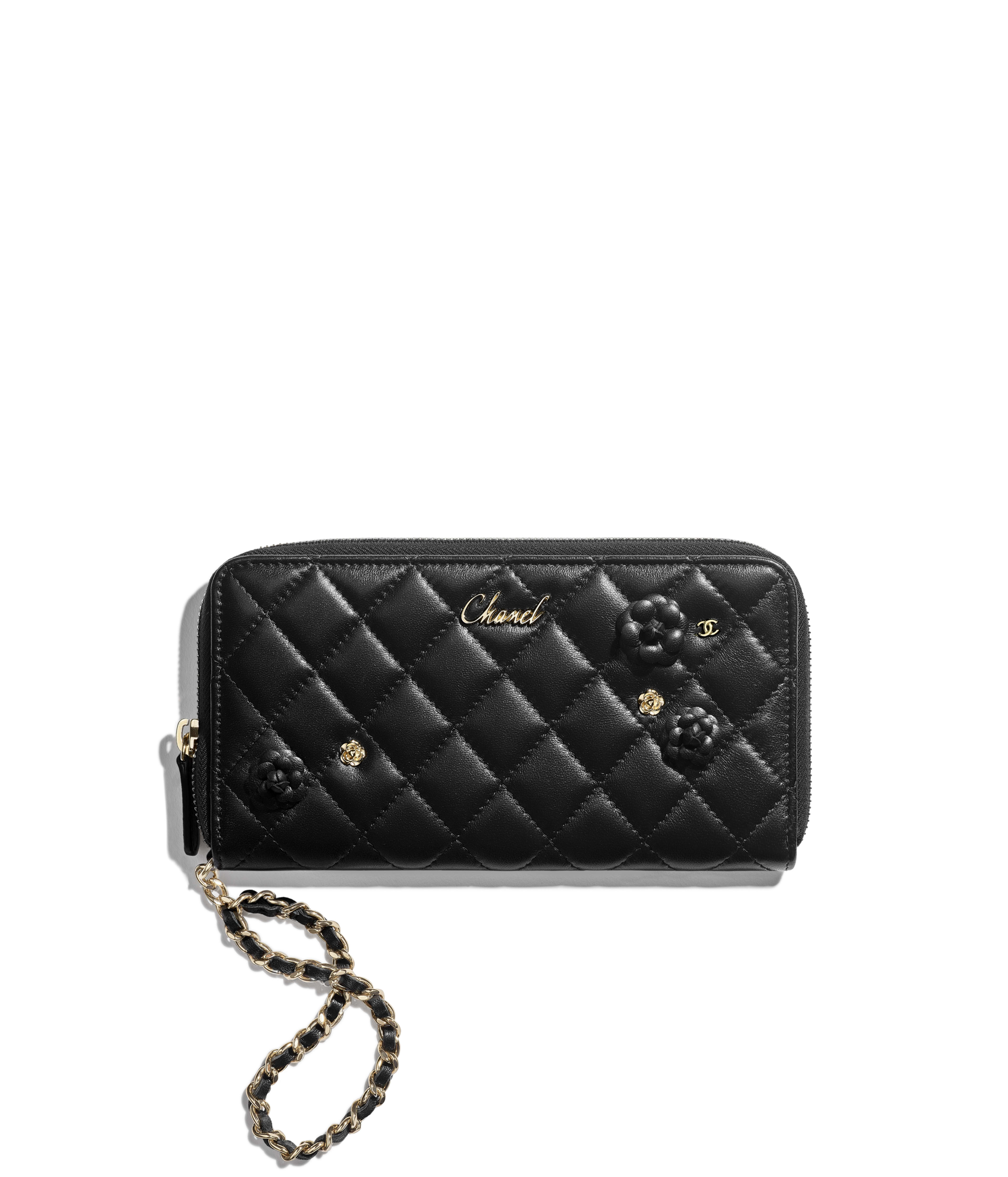e50a75c1ba167d Zipped Wallet with Handle Lambskin & Gold-Tone Metal, Black Ref.  AP0150Y0405994305