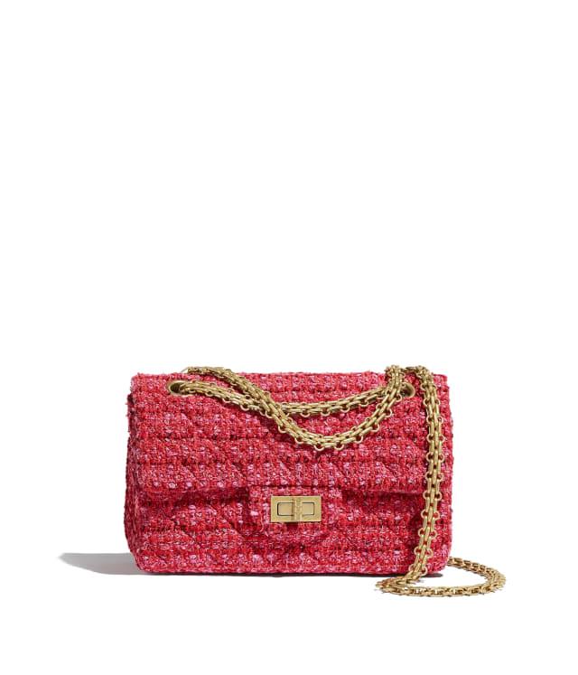 Small 2.55 Handbag - Tweed & Gold-Tone Metal, Red, Ecru & Black
