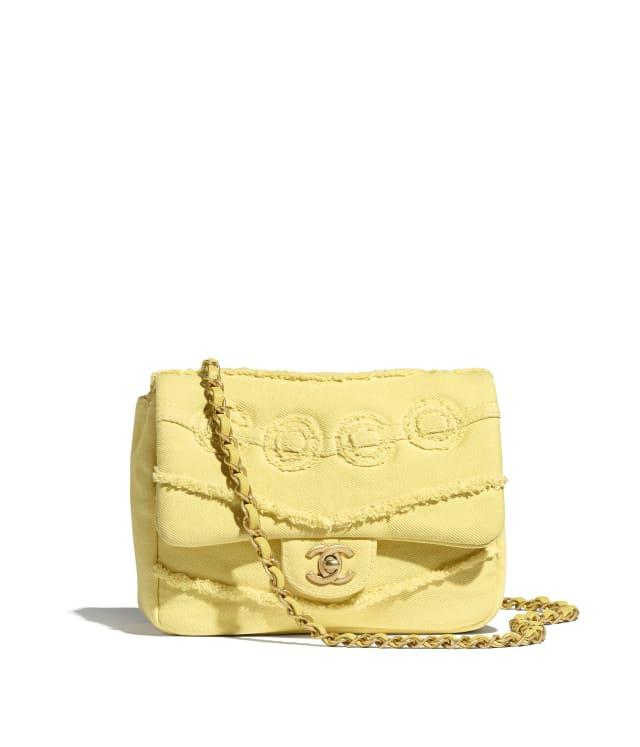 Small Flap Bag - Denim & Gold-Tone Metal, Yellow