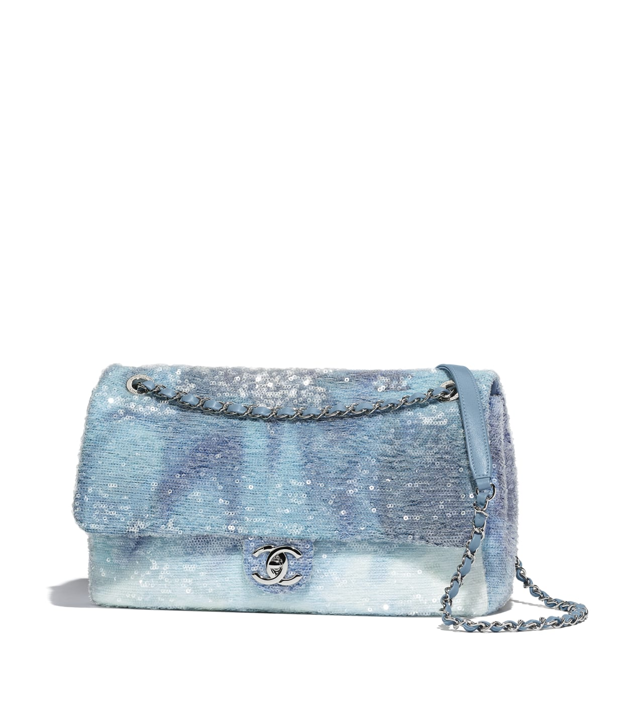 Sequins Silver Tone Metal Light Blue Turquoise Flap Bag Chanel