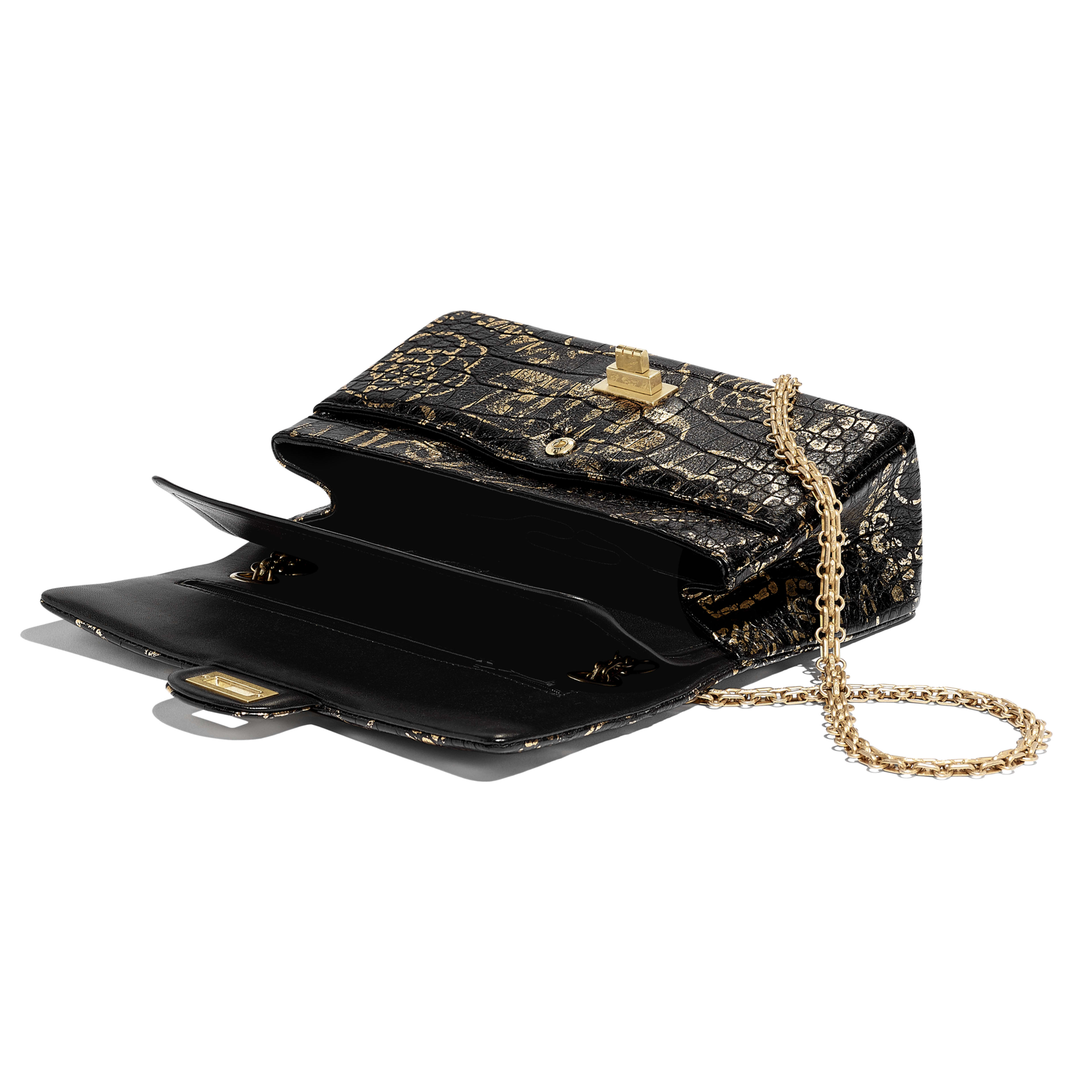2.55 Handbag - Black & Gold - Crocodile Embossed Printed Leather & Gold-Tone Metal - Other view - see full sized version