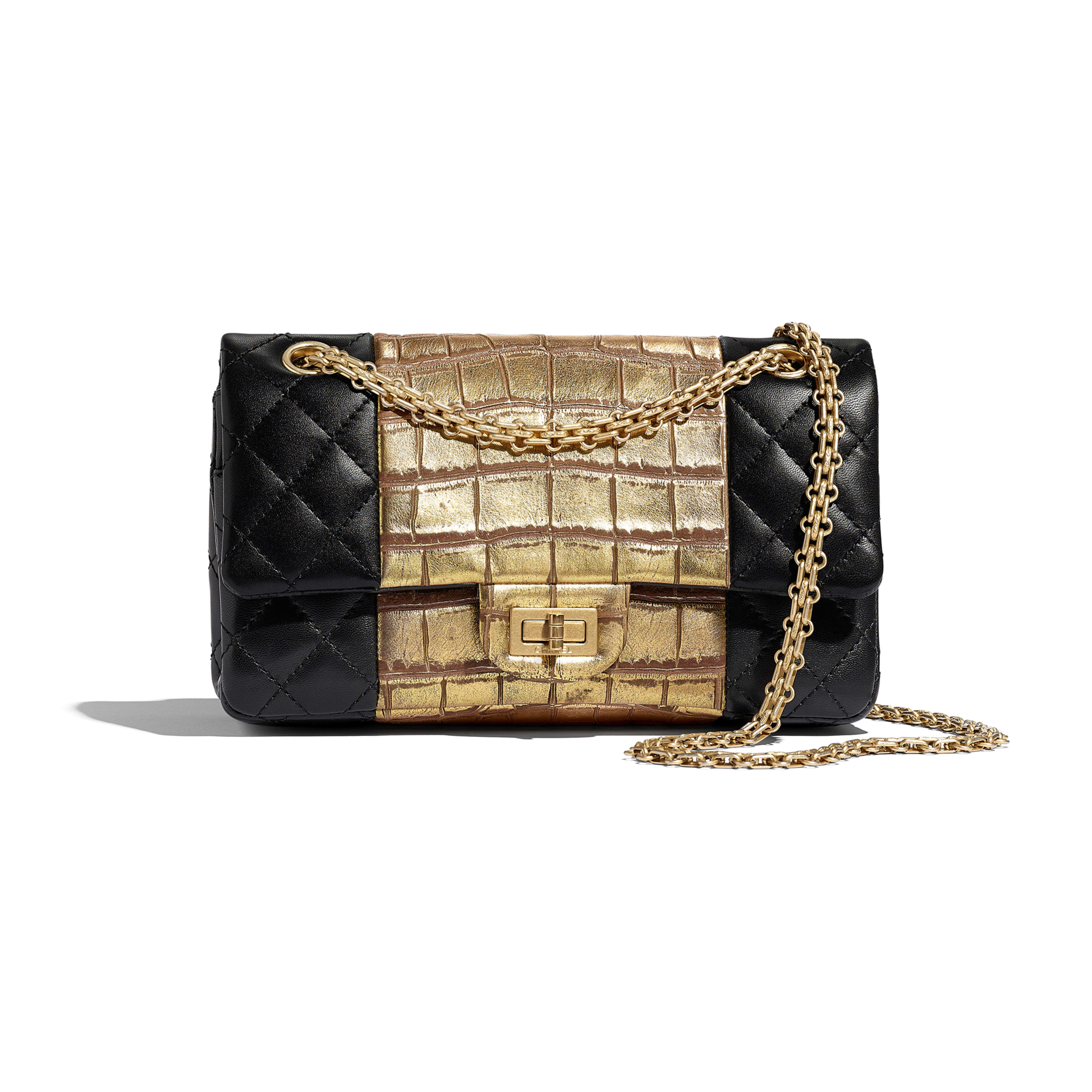 2.55 Handbag - Black & Gold - Lambskin, Crocodile Embossed Calfskin & Gold-Tone Metal - Default view - see full sized version