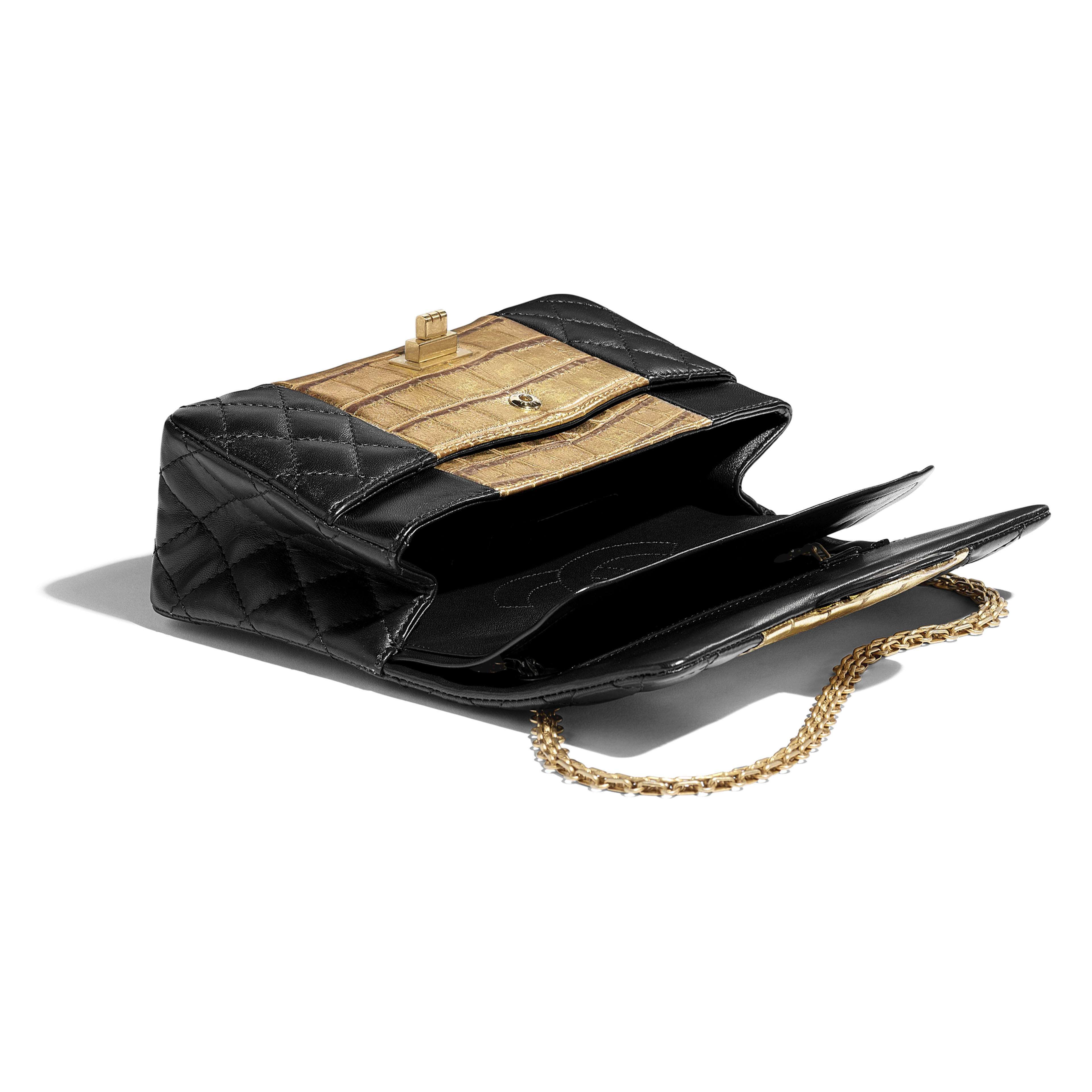 2.55 Handbag - Black & Gold - Lambskin, Crocodile Embossed Calfskin & Gold-Tone Metal - Other view - see full sized version
