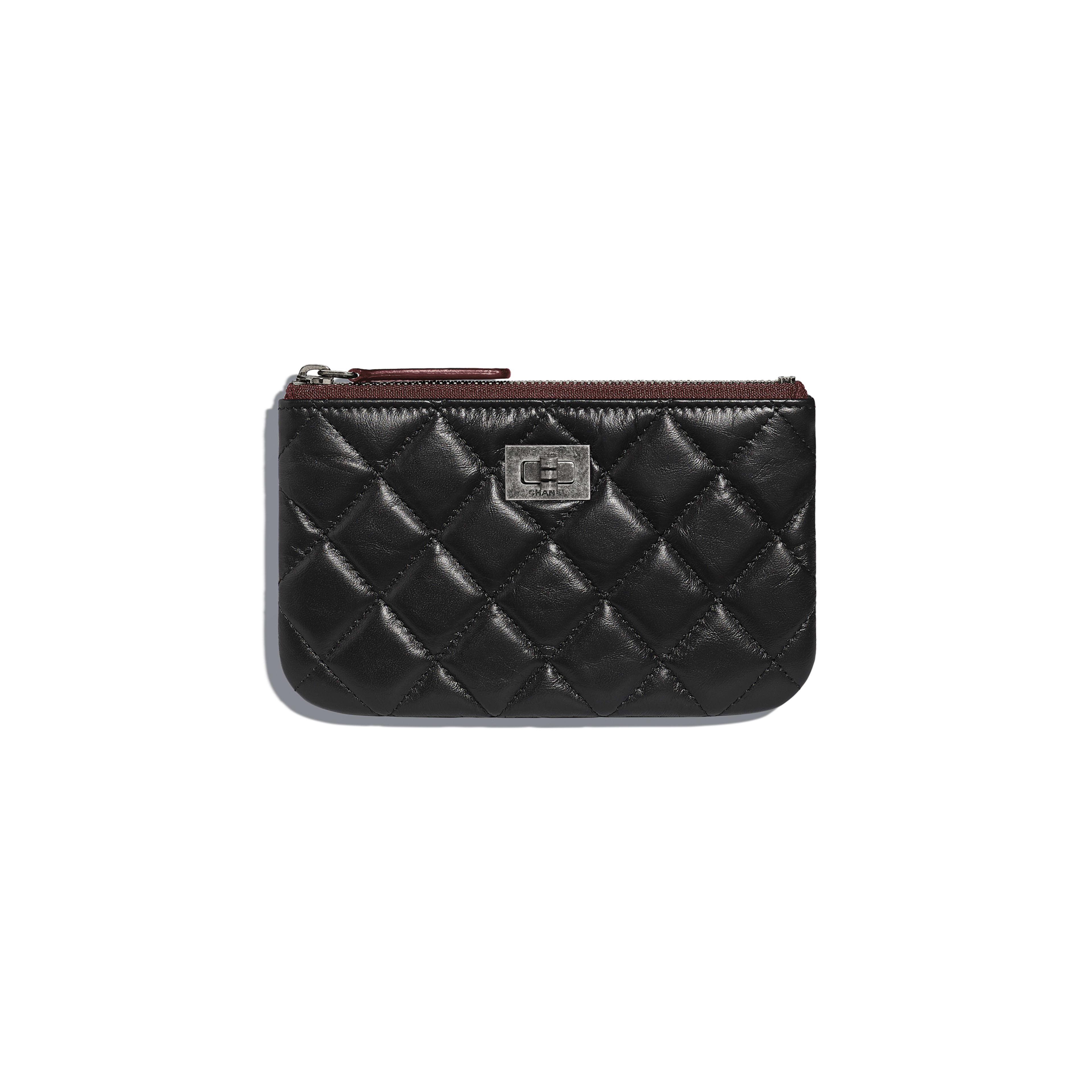2.55 Mini Pouch - Black - Aged Calfskin & Ruthenium-Finish Metal - Default view - see full sized version