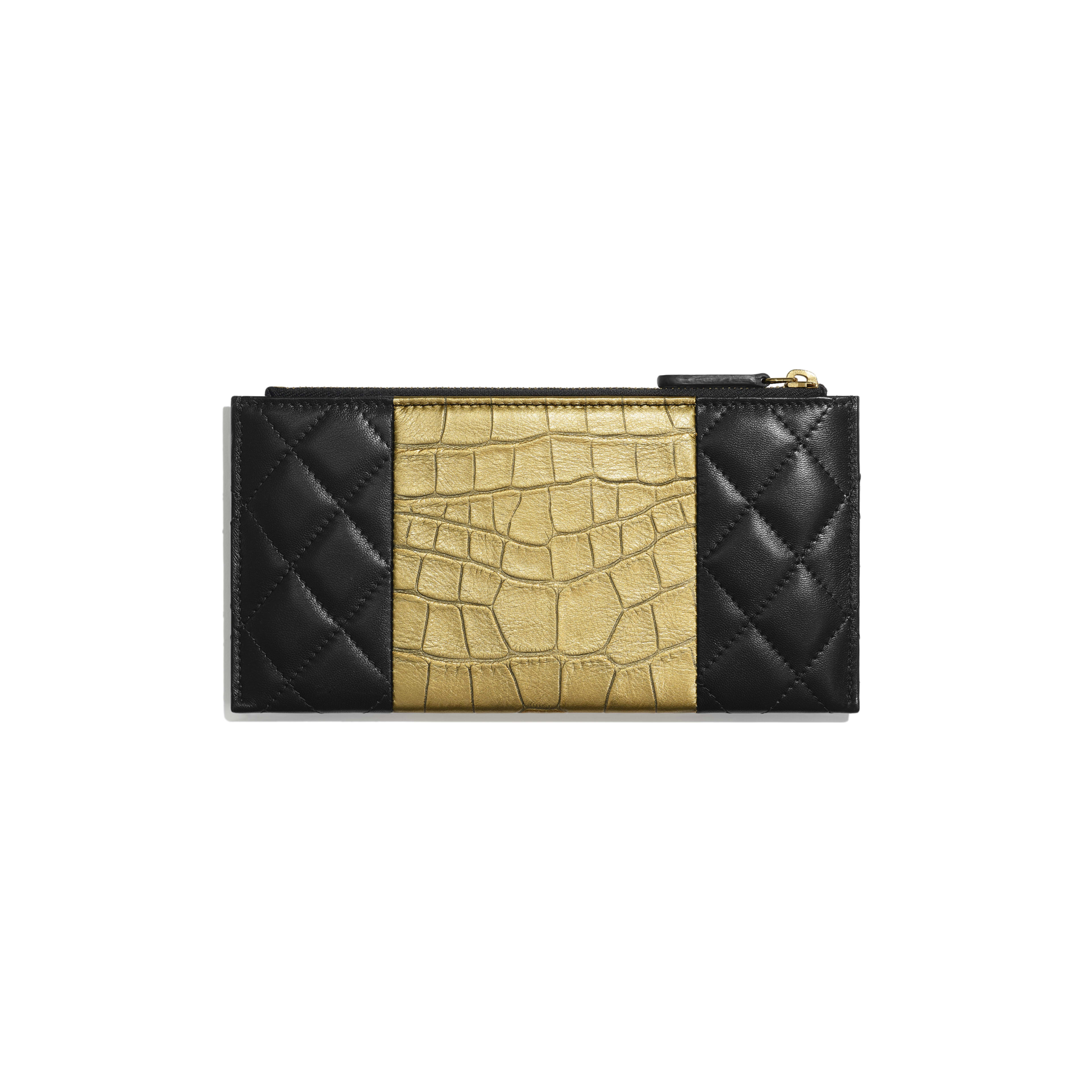 2.55 Pouch - Black & Gold - Lambskin, Crocodile Embossed Calfskin & Gold-Tone Metal - Alternative view - see full sized version